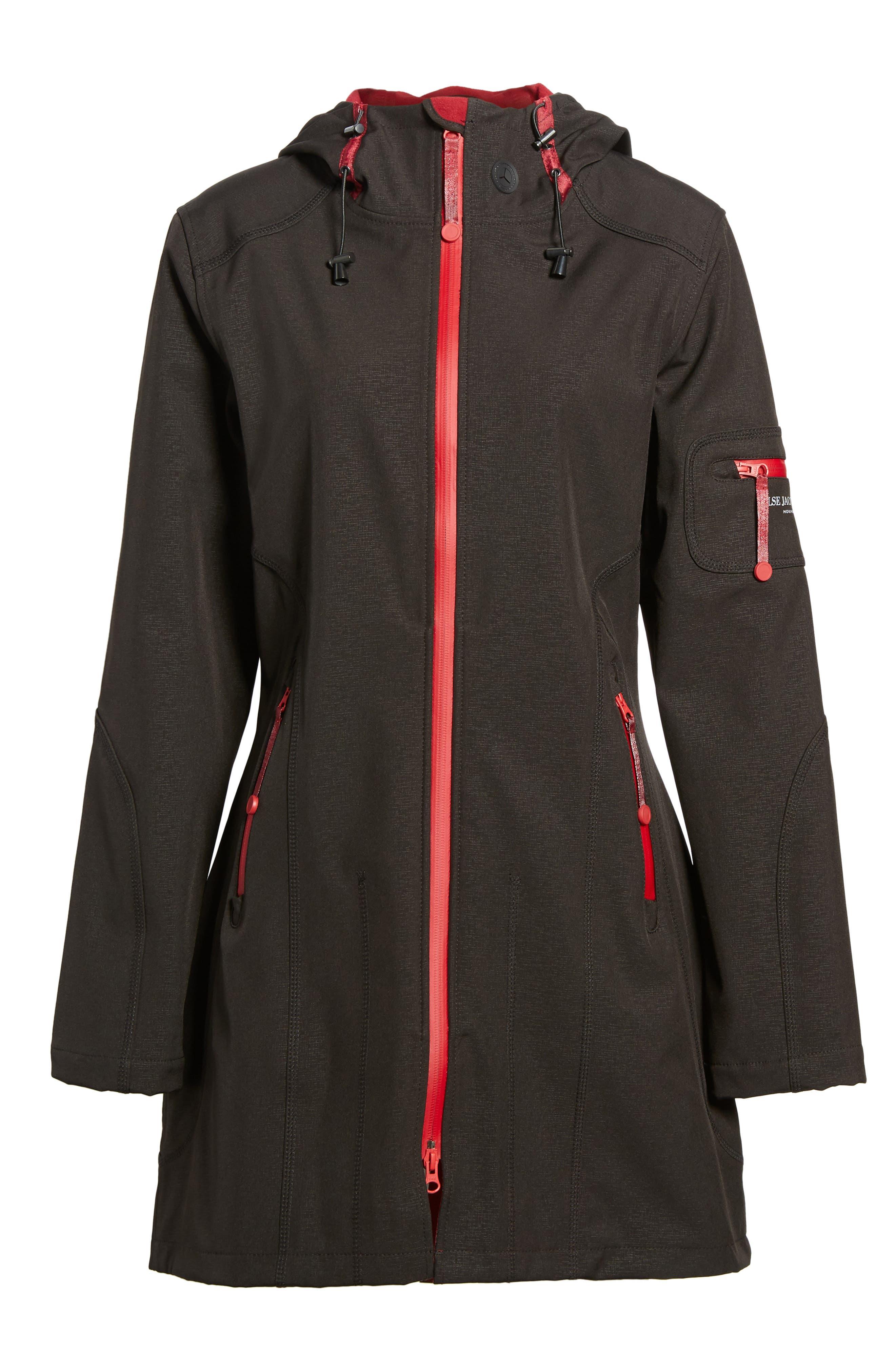 'Rain 7B' Hooded Water Resistant Coat,                             Main thumbnail 1, color,                             Black/ Wine