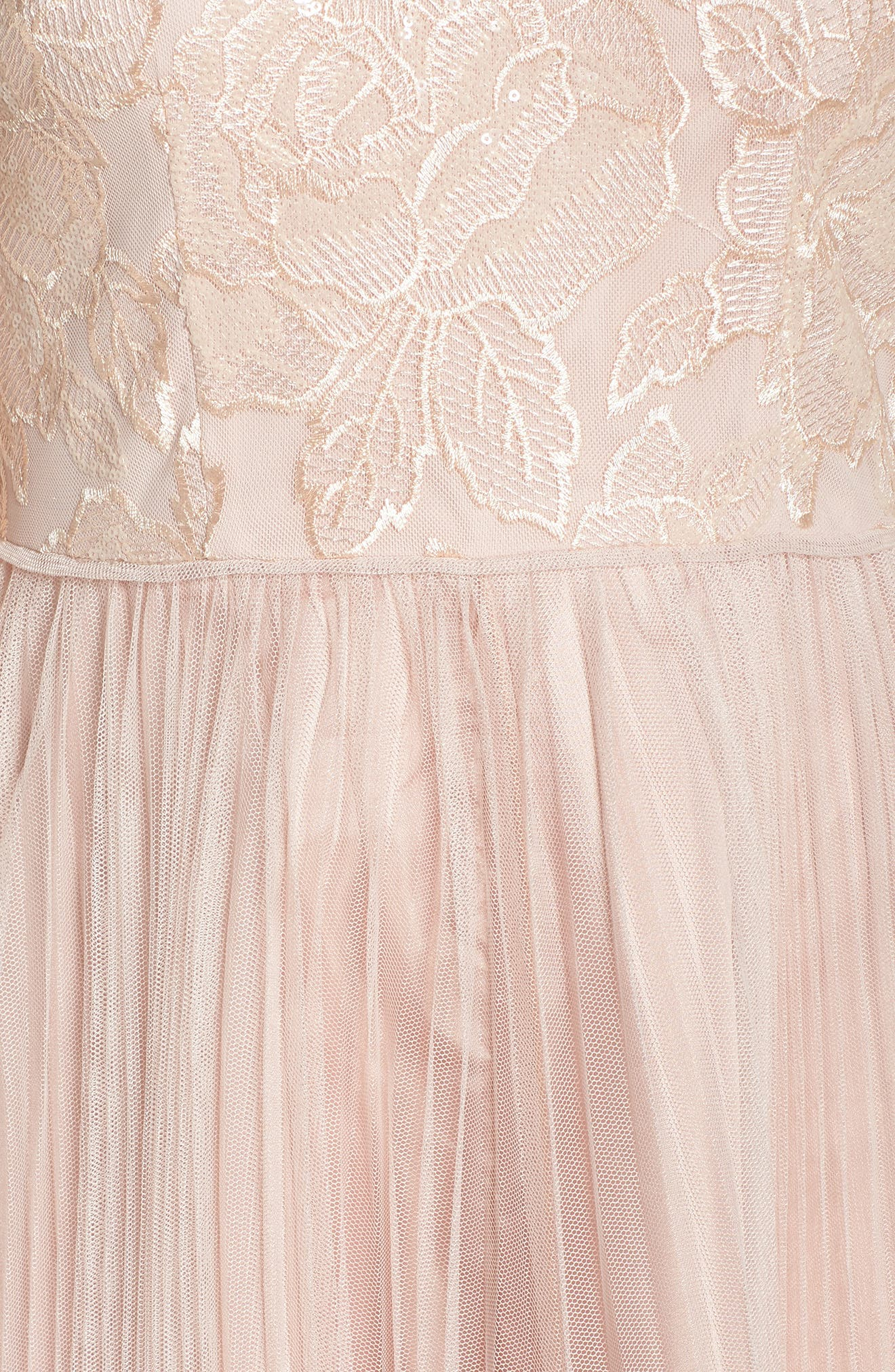 Sequin Pleated Tulle High/Low Gown,                             Alternate thumbnail 5, color,                             Blush