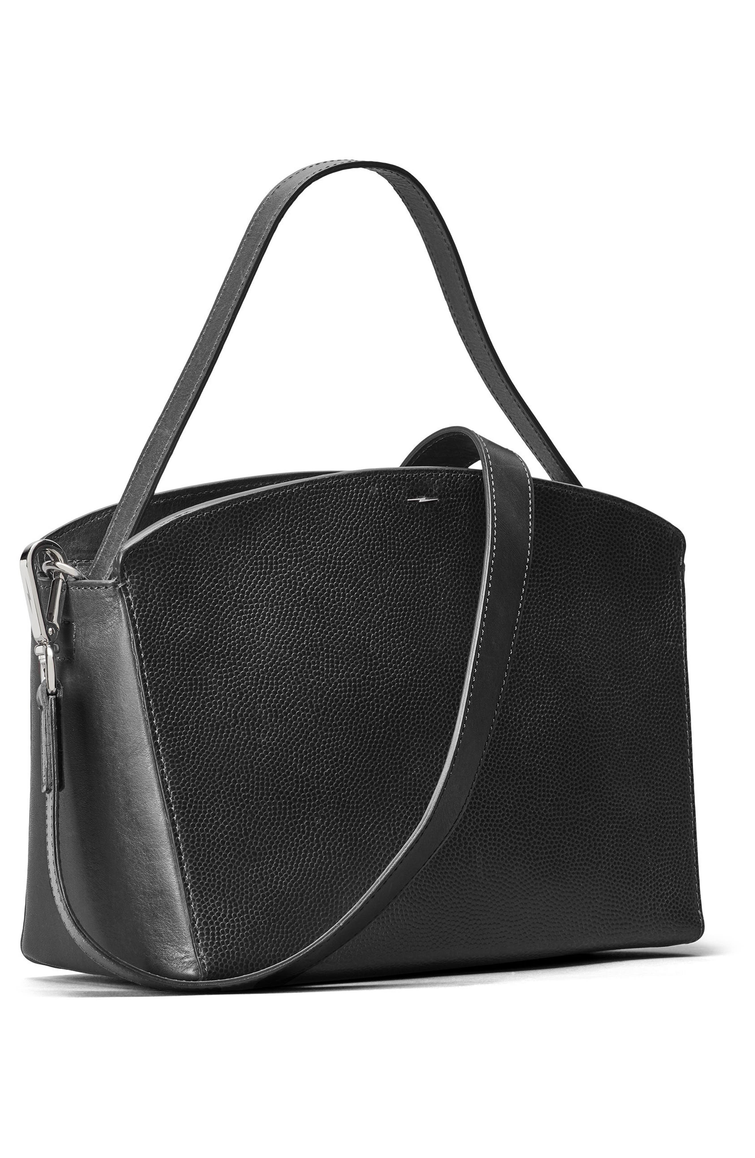Curved Latigo Leather Satchel,                             Alternate thumbnail 4, color,                             Black