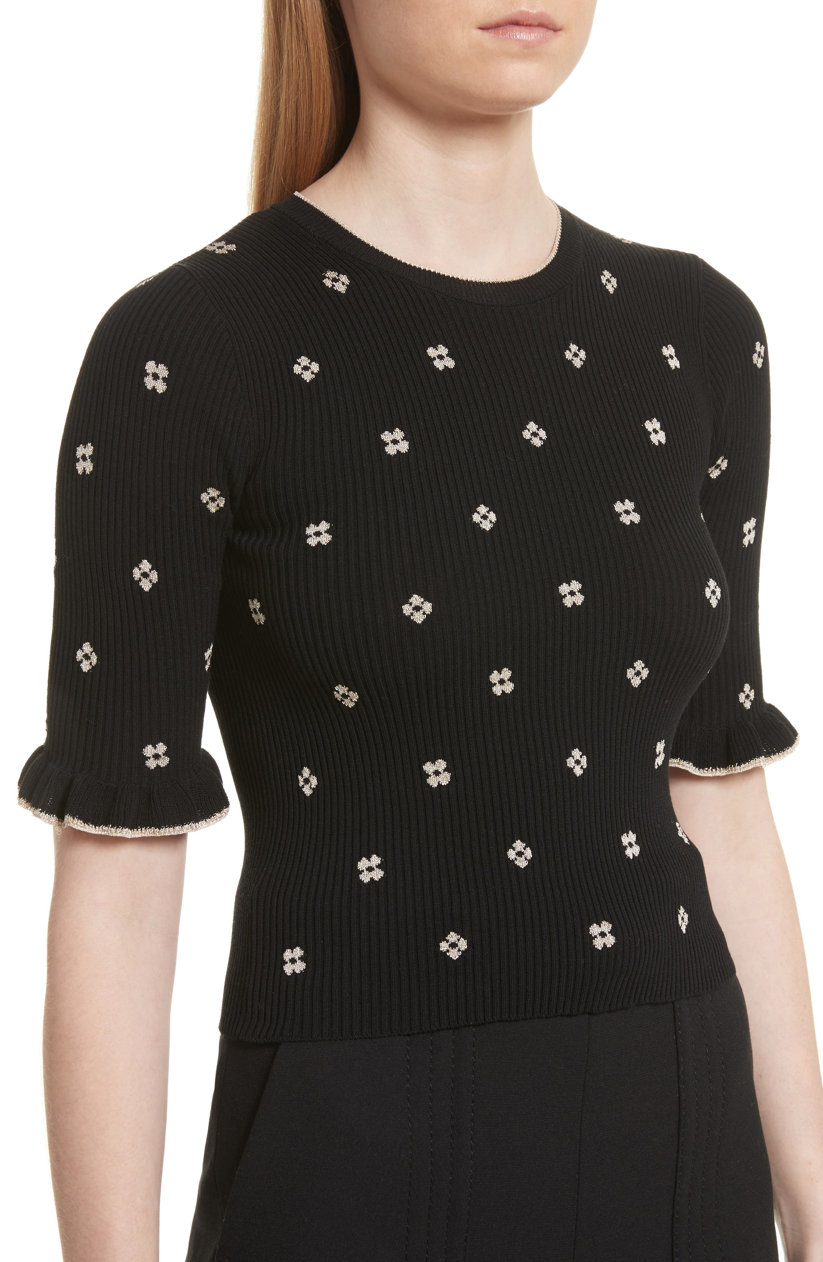 Alternate Image 4  - RED Valentino Flower Intarsia Knit Top