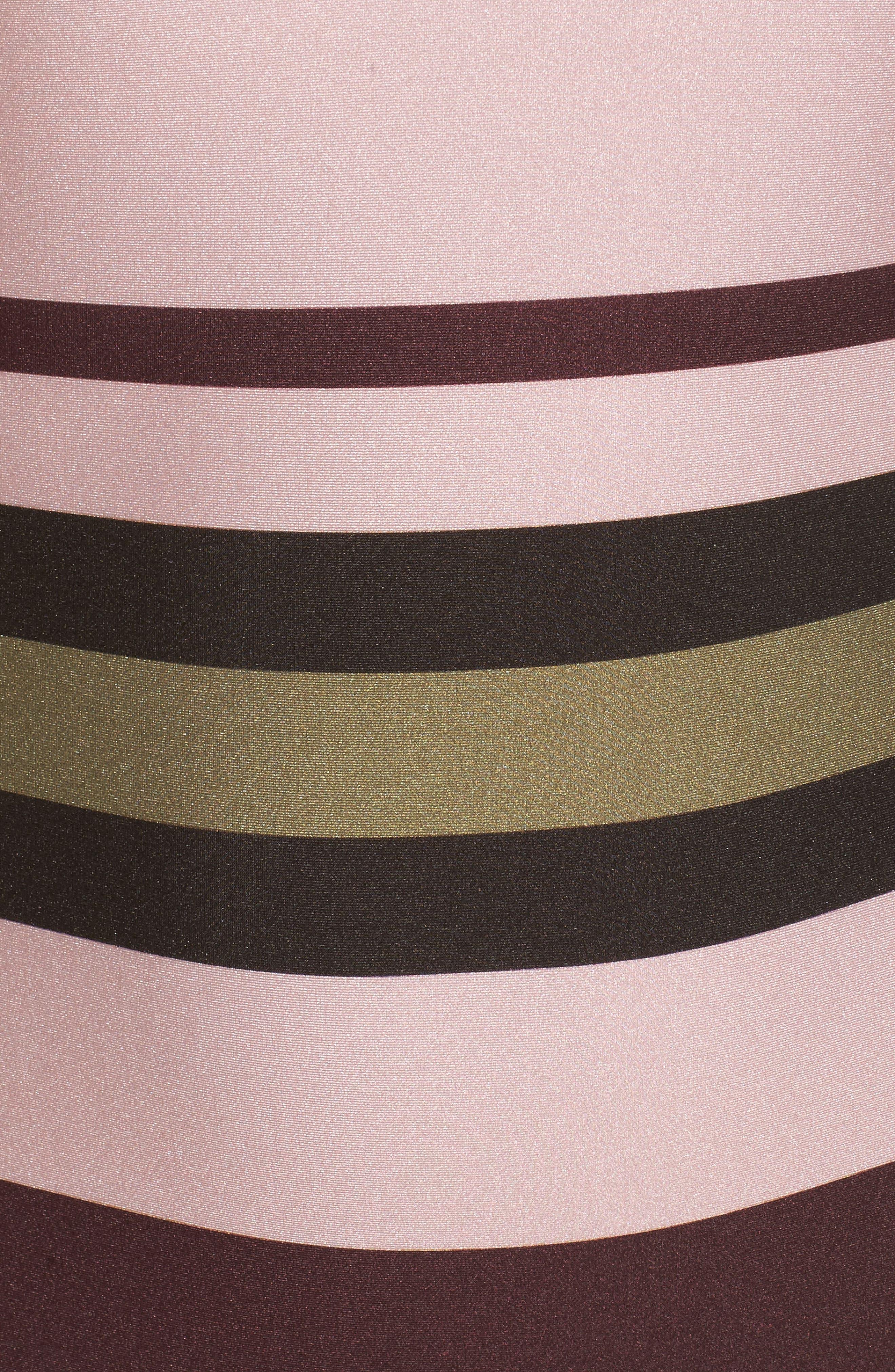 Imperial Stripe Bardot One-Piece Swimsuit,                             Alternate thumbnail 5, color,                             Dusky Pink