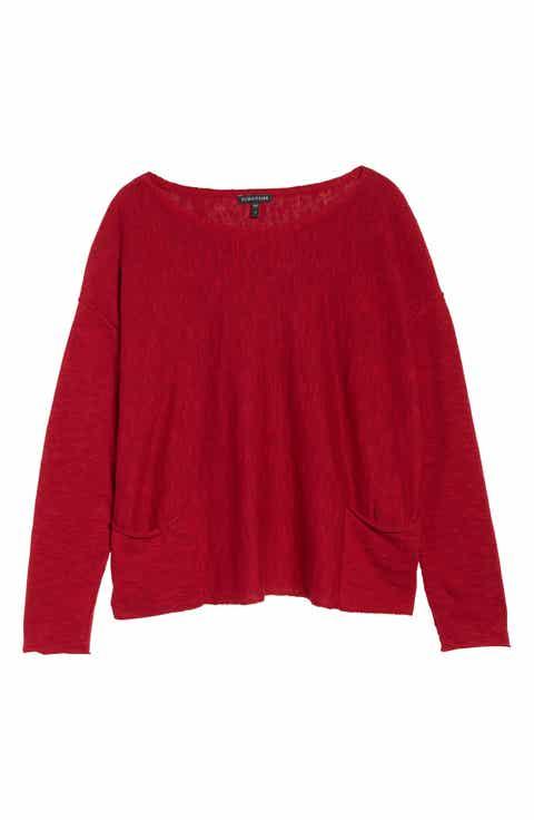 Eileen Fisher Organic Linen & Cotton Knit Boxy Top (Regular & Petite)