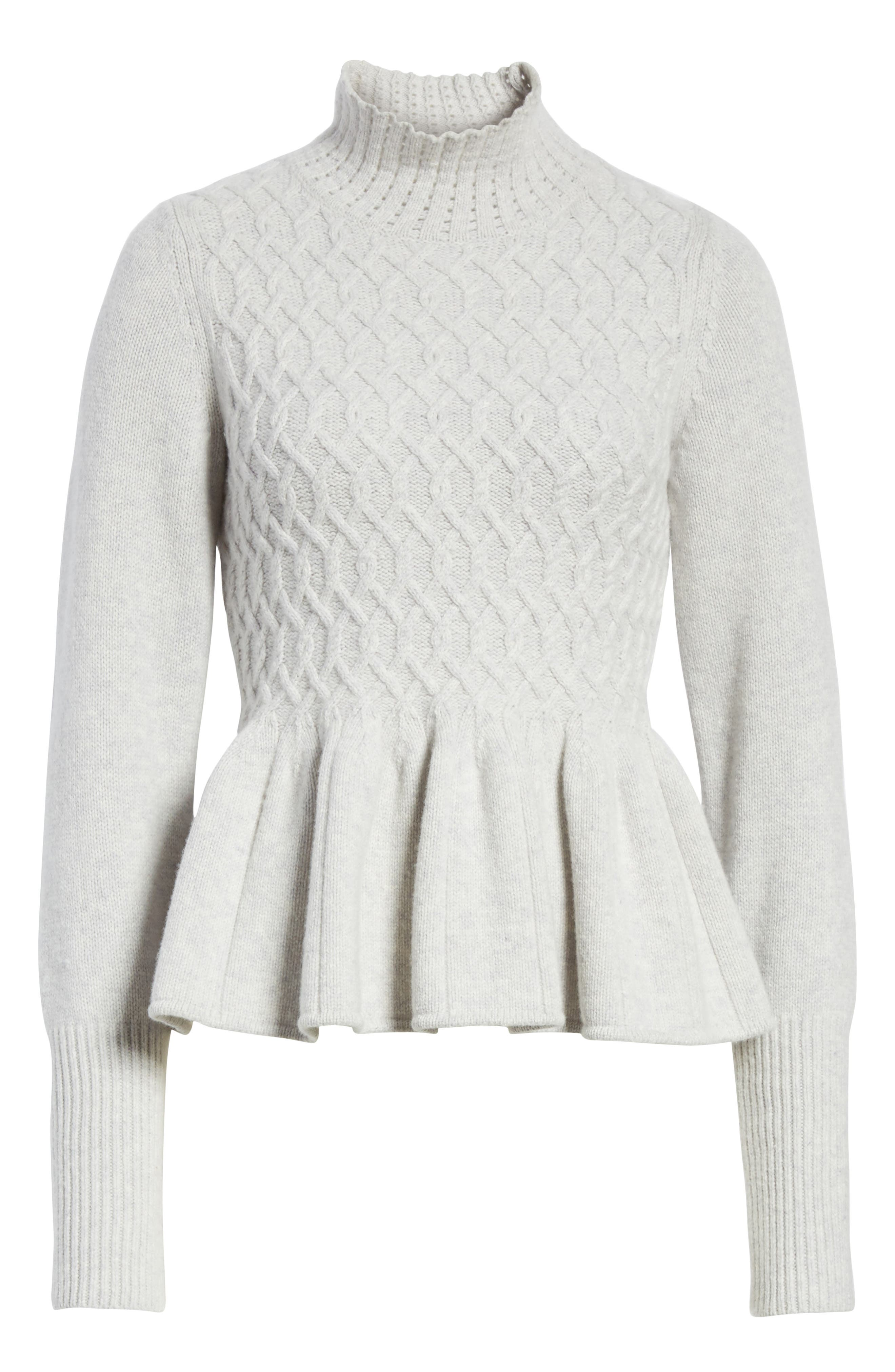 Braided Cable Mock Neck Pullover,                             Alternate thumbnail 6, color,                             Light Heather Grey