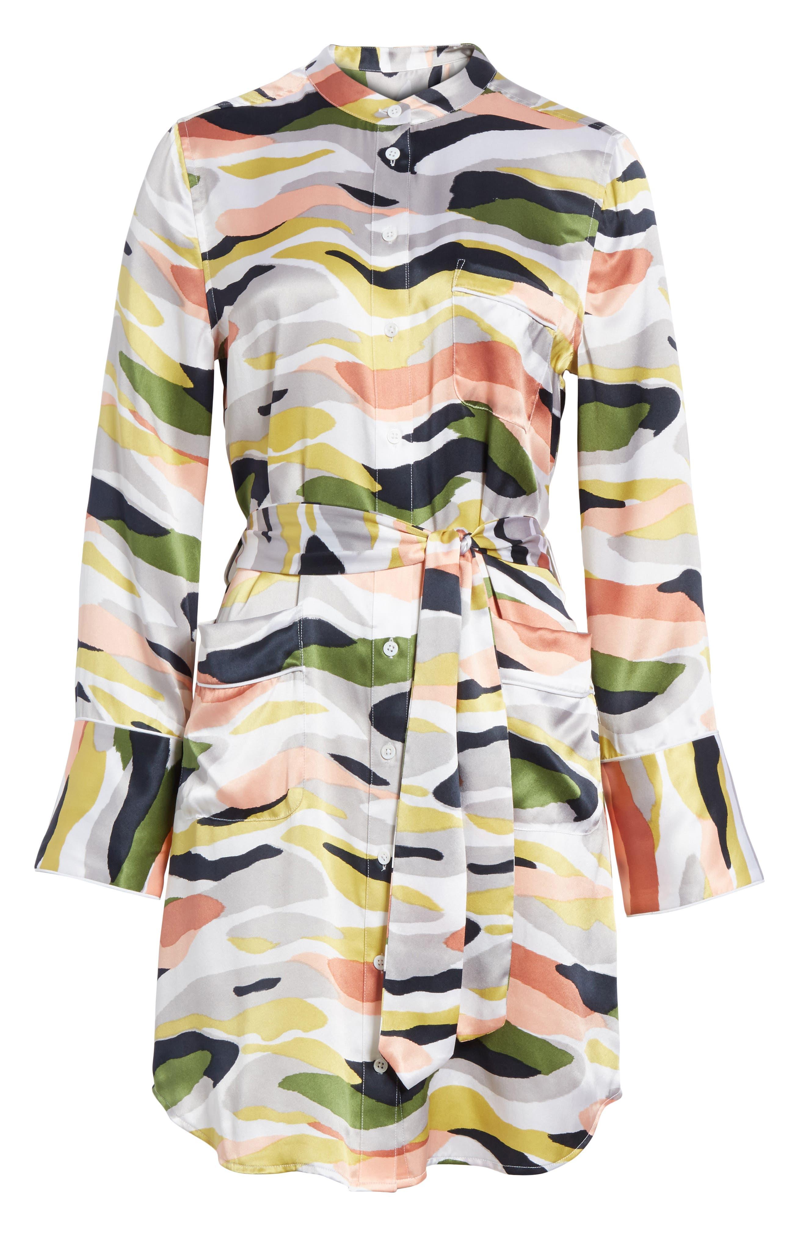 Britten Tie-Waist Silk Dress,                             Alternate thumbnail 6, color,                             Bright White Multi