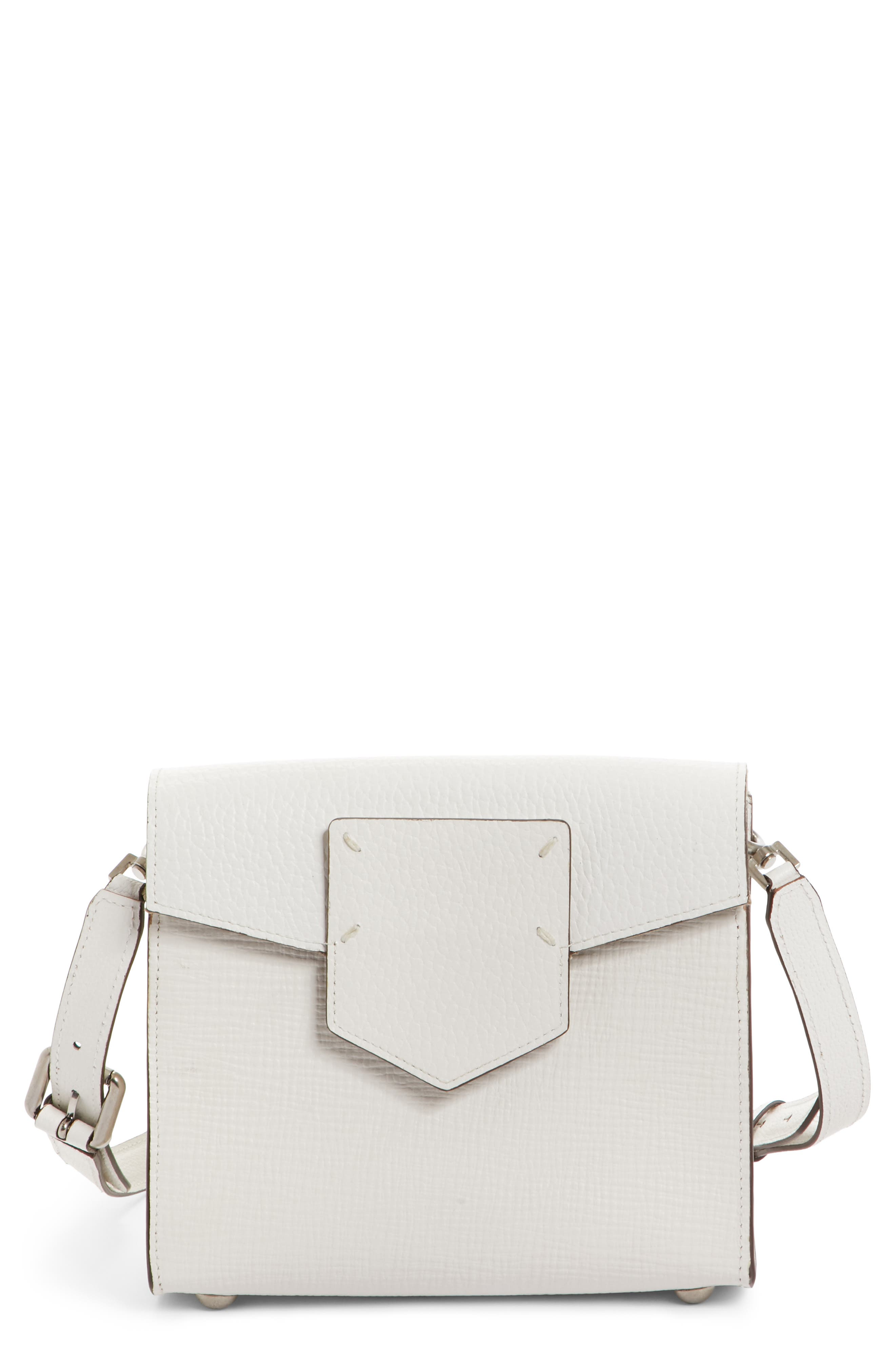 Bonded Leather Crossbody Bag,                             Main thumbnail 1, color,                             White