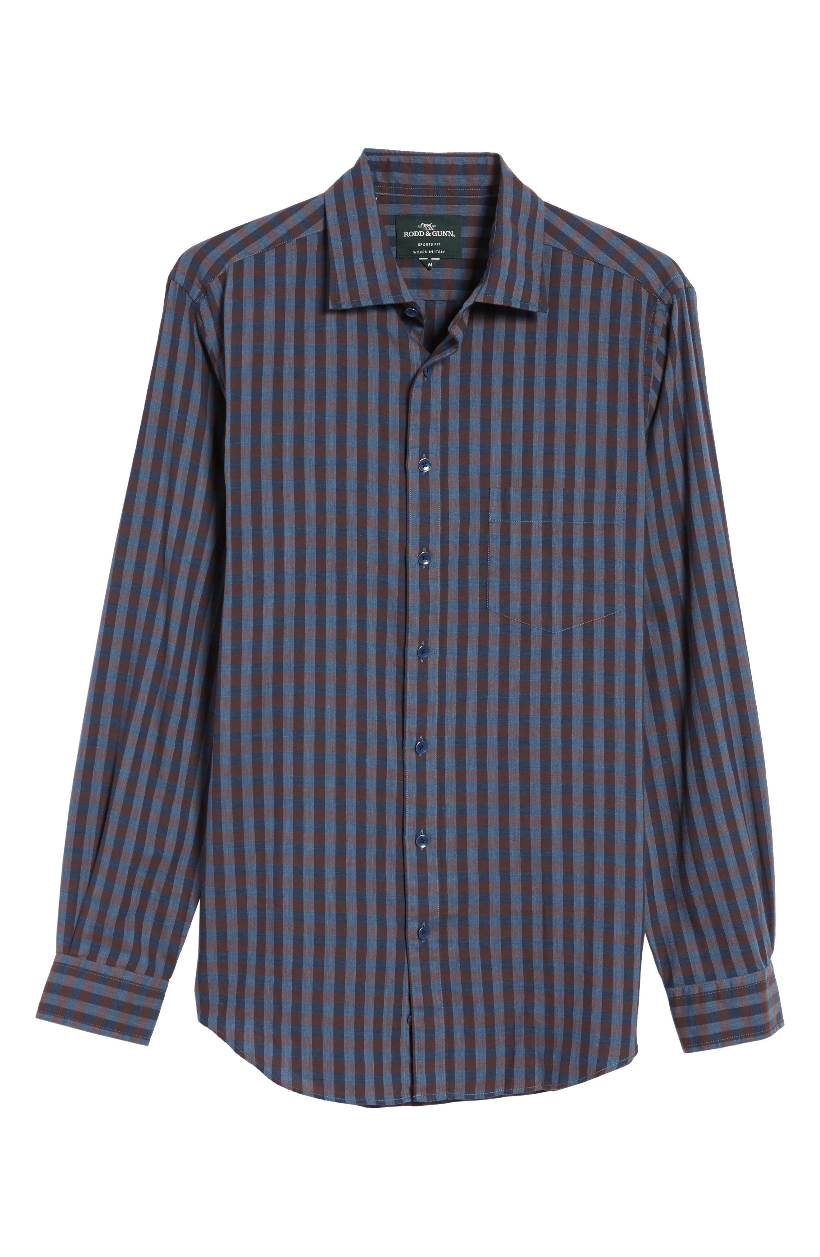 Gisborne Point Check Sport Shirt,                             Alternate thumbnail 6, color,                             River