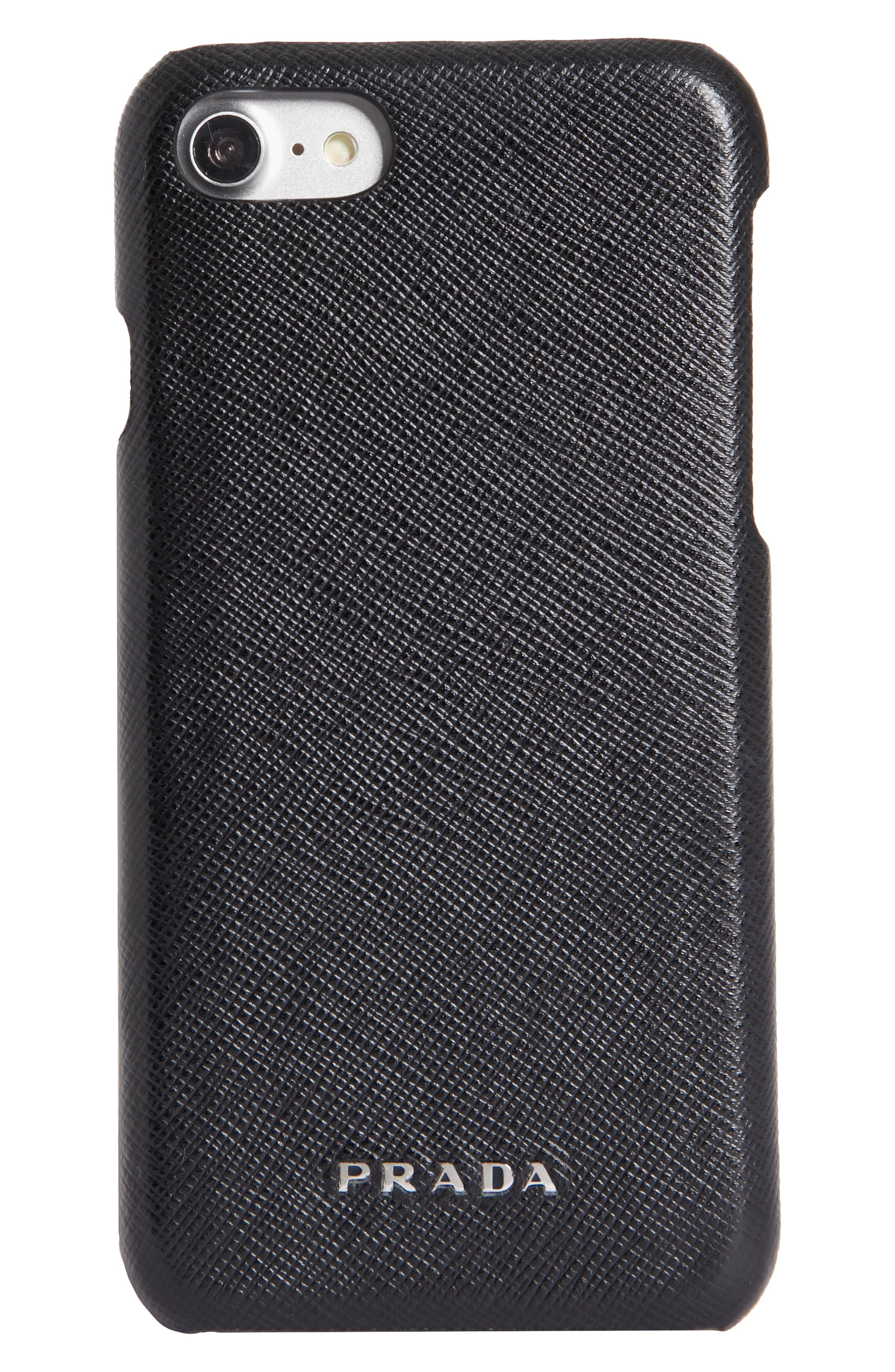 Saffiano Leather iPhone 6/6s/7/8 Case,                             Main thumbnail 1, color,                             Nero