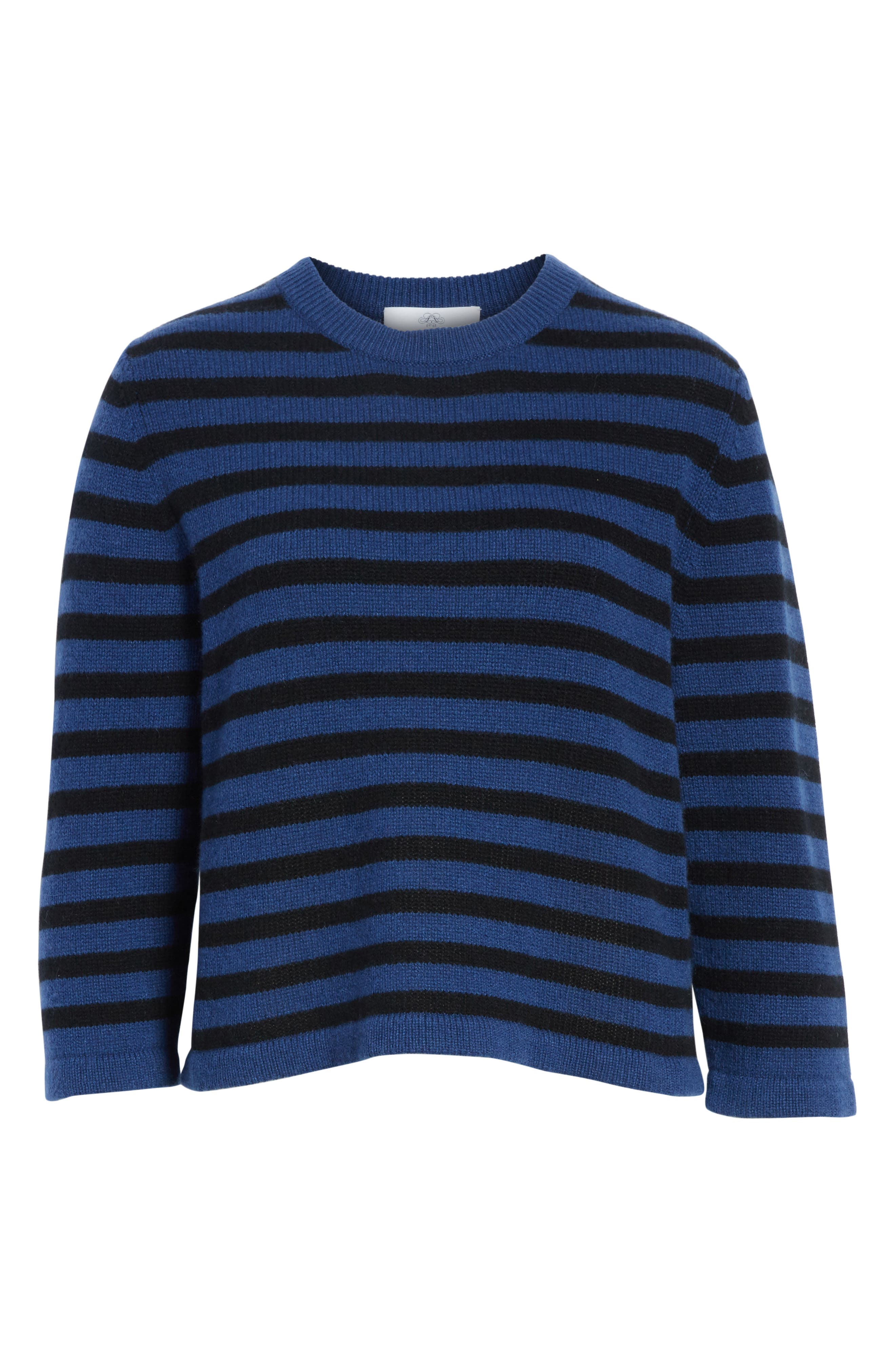 Crop Cashmere Sweater,                             Alternate thumbnail 6, color,                             Blue W/ Black Stripe
