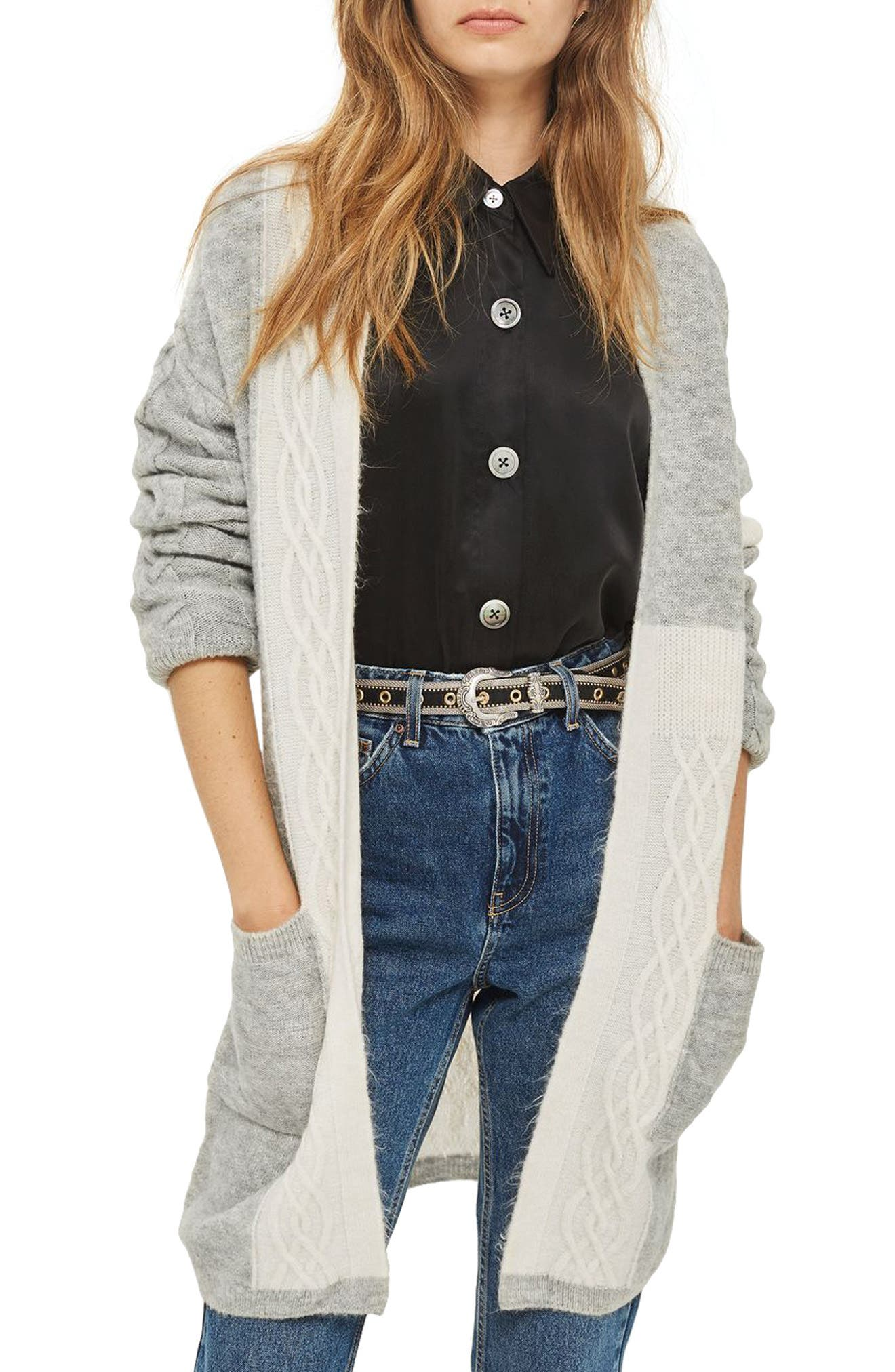 Main Image - Topshop Cable Patchwork Cardigan