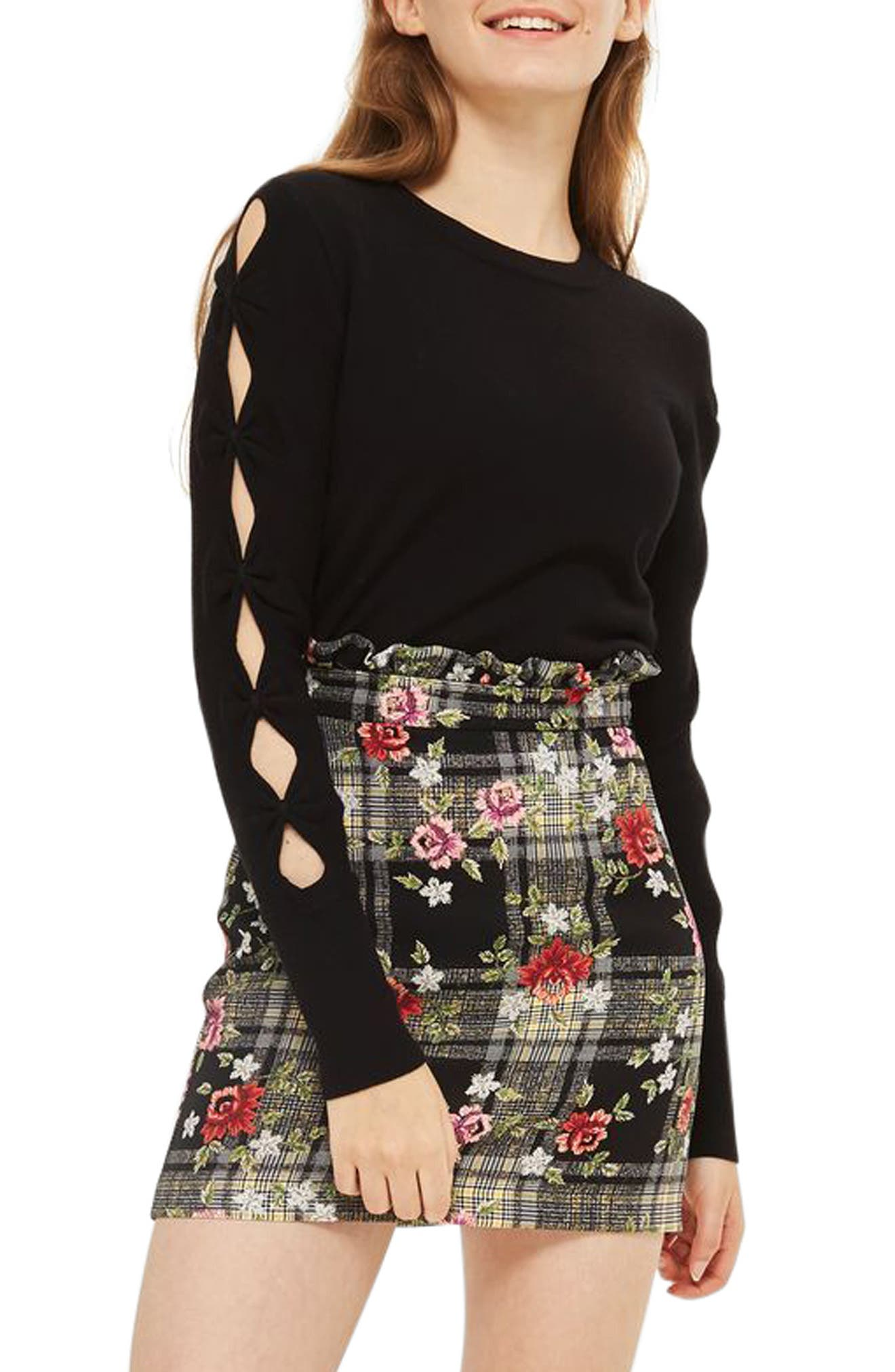 Bow Sleeve Crop Top,                         Main,                         color, Black