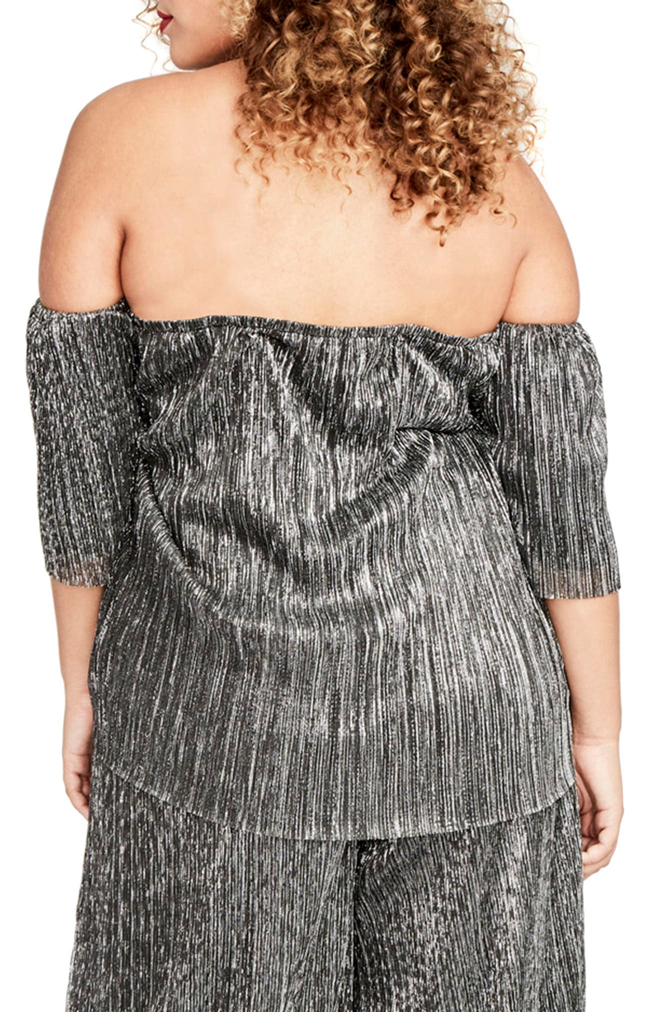 Raw Edge Off the Shoulder Top,                             Alternate thumbnail 2, color,                             Black Combo