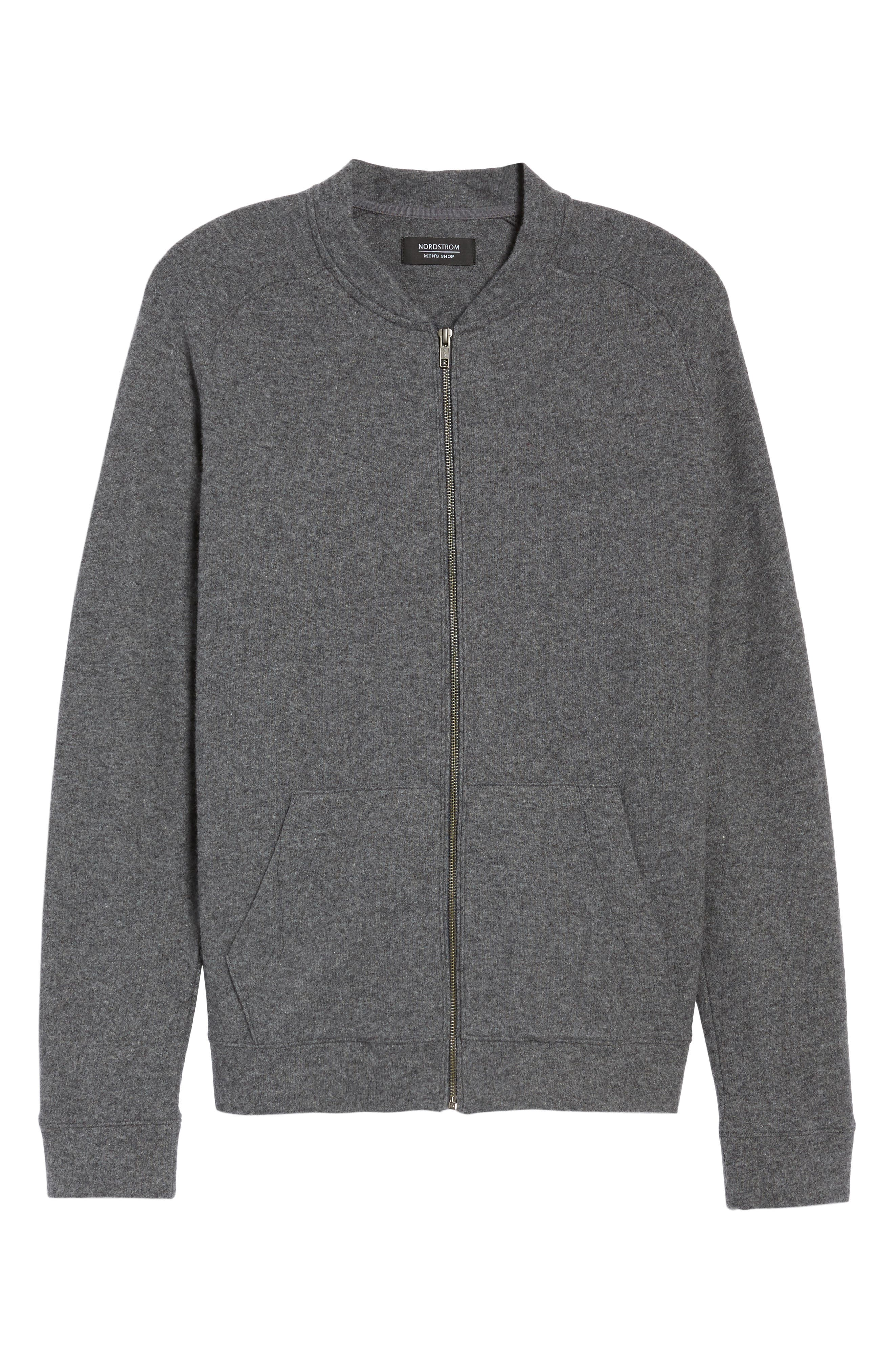 Wool Blend Fleece Bomber Jacket,                             Alternate thumbnail 6, color,                             Grey Charcoal