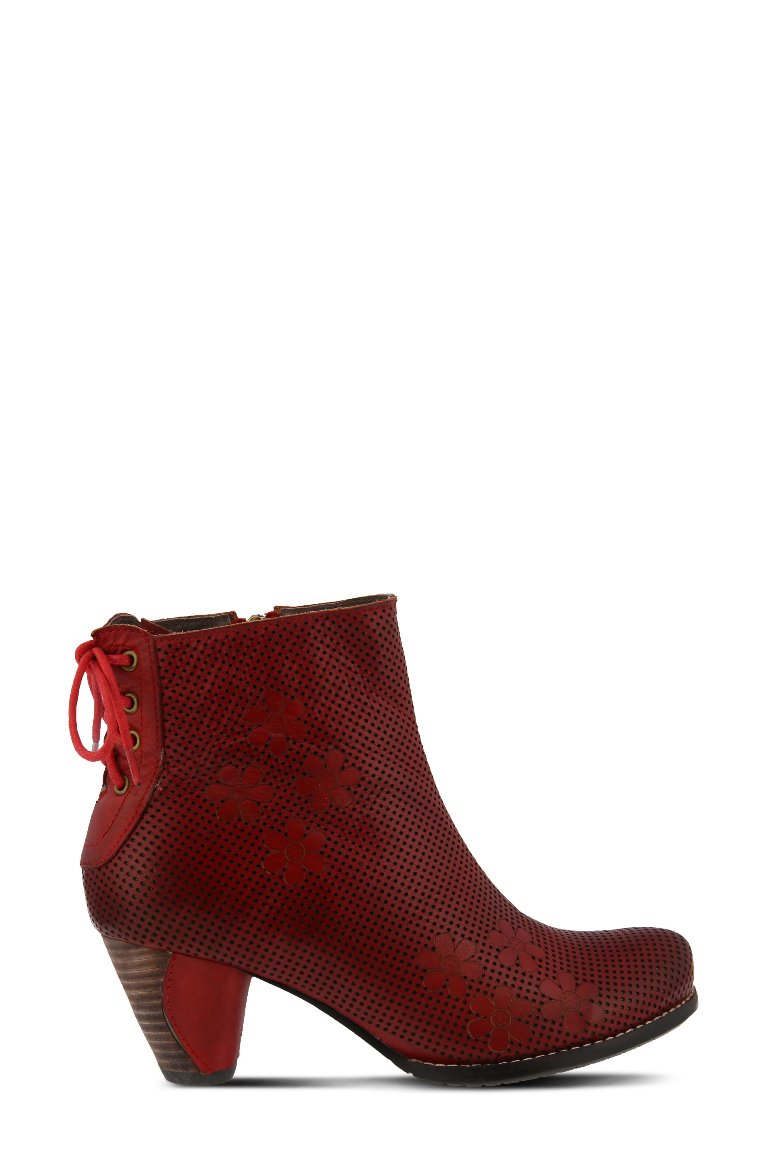 L'Artiste Teca Bootie,                             Alternate thumbnail 3, color,                             Red Leather