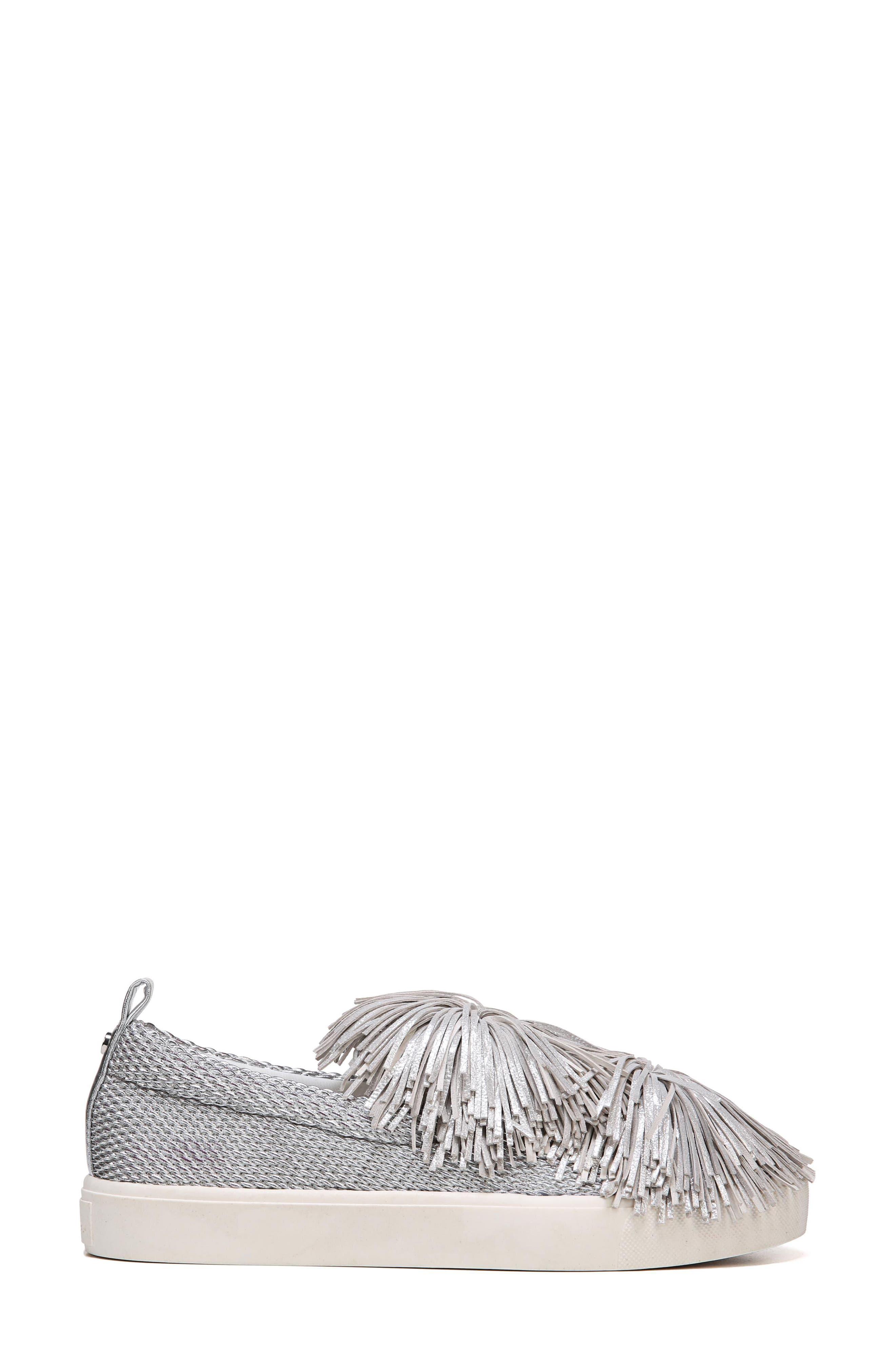 Emory Fringe Pompom Sneaker,                             Alternate thumbnail 3, color,                             Metallic Silver