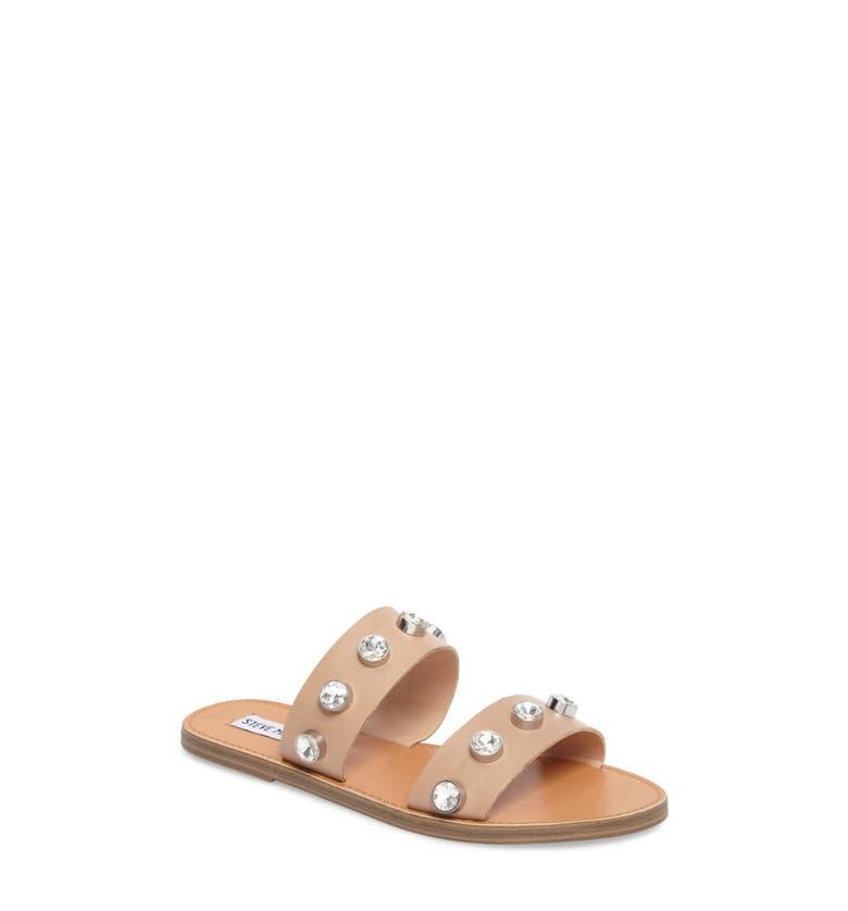 Jessy Embellished Slide Sandal,                         Main,                         color, Nude Leather