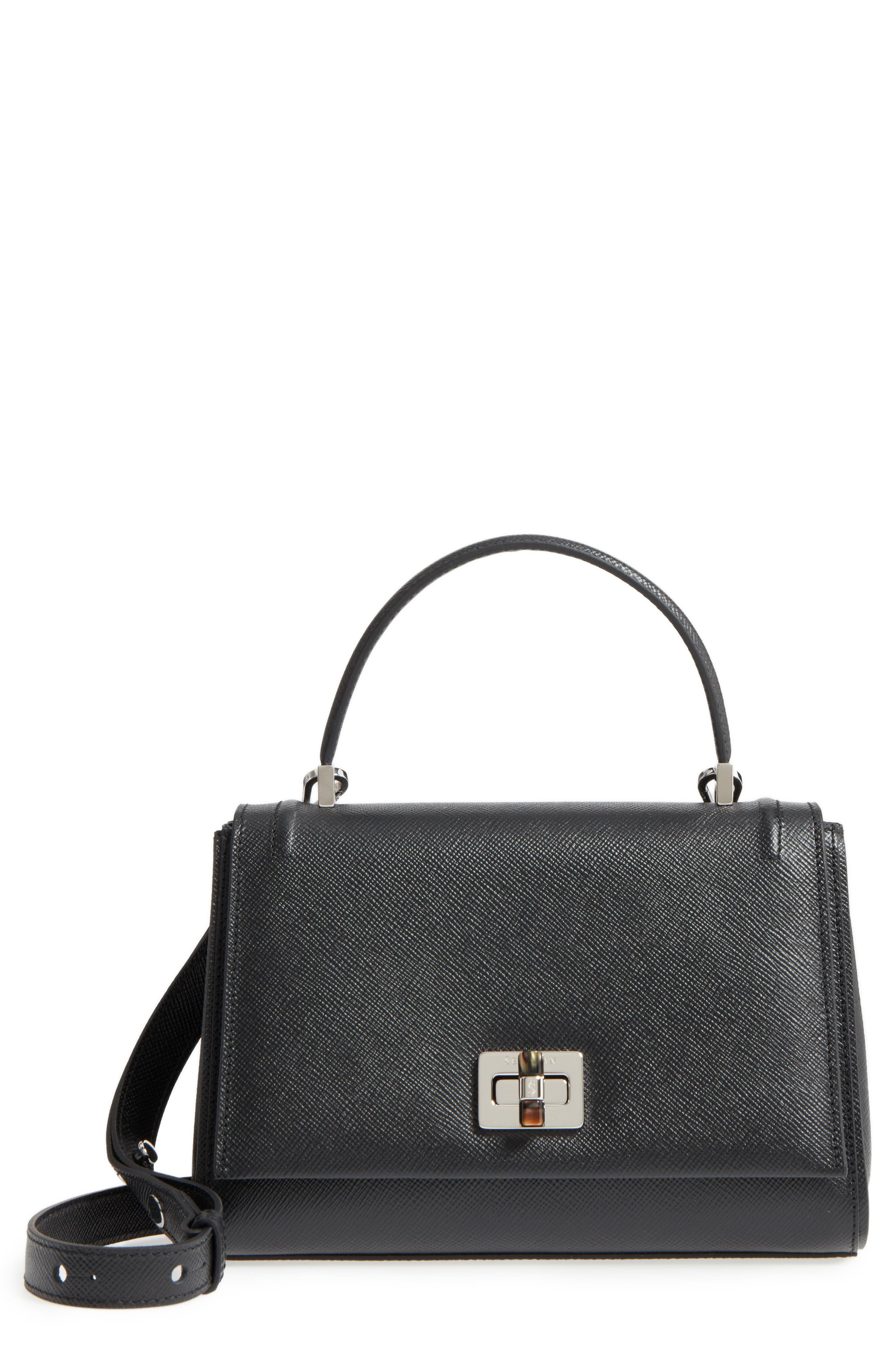 Small Elena Leather Satchel,                         Main,                         color, Black