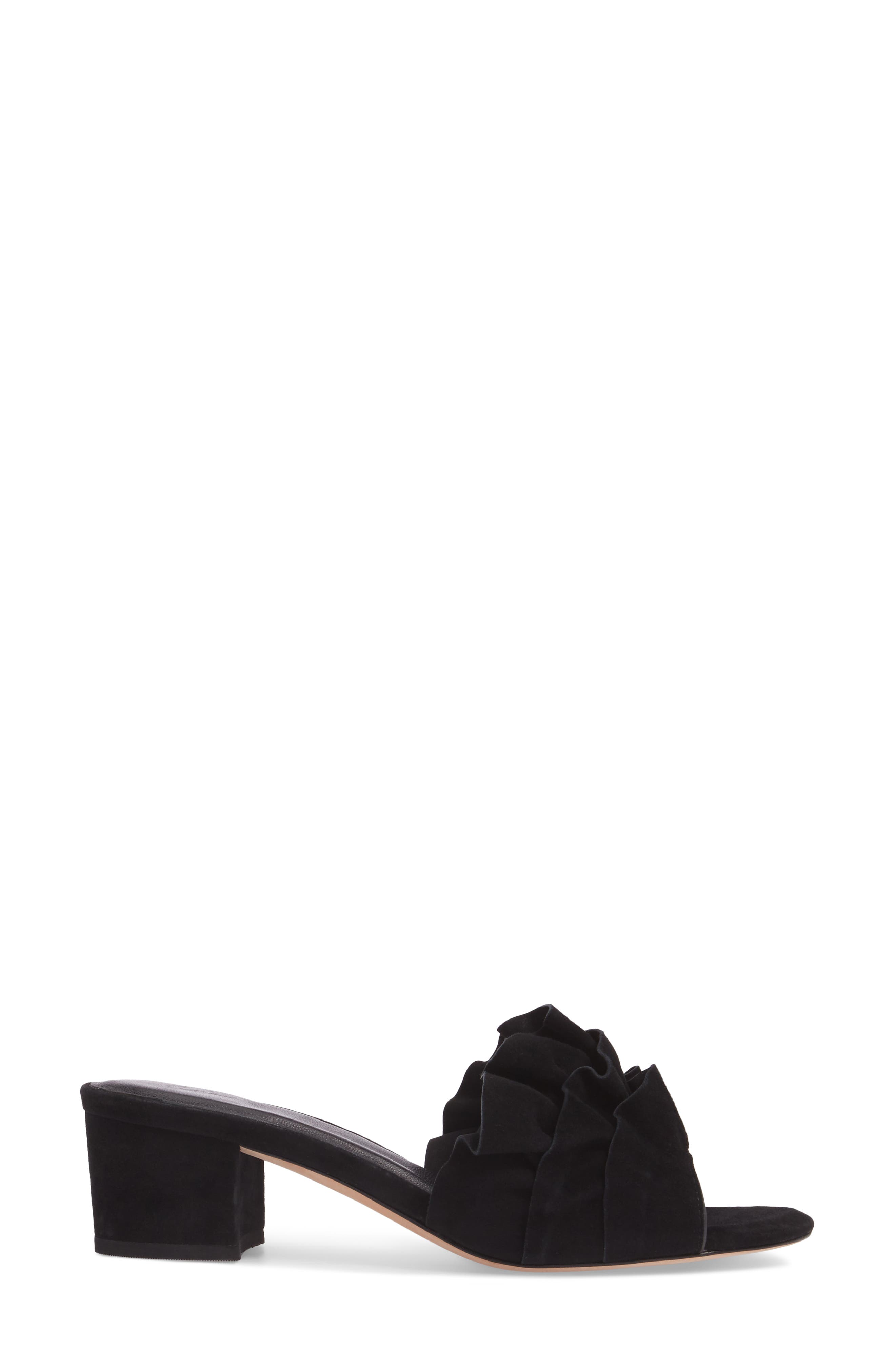 Mai Ruffle Slide Sandal,                             Alternate thumbnail 3, color,                             Black