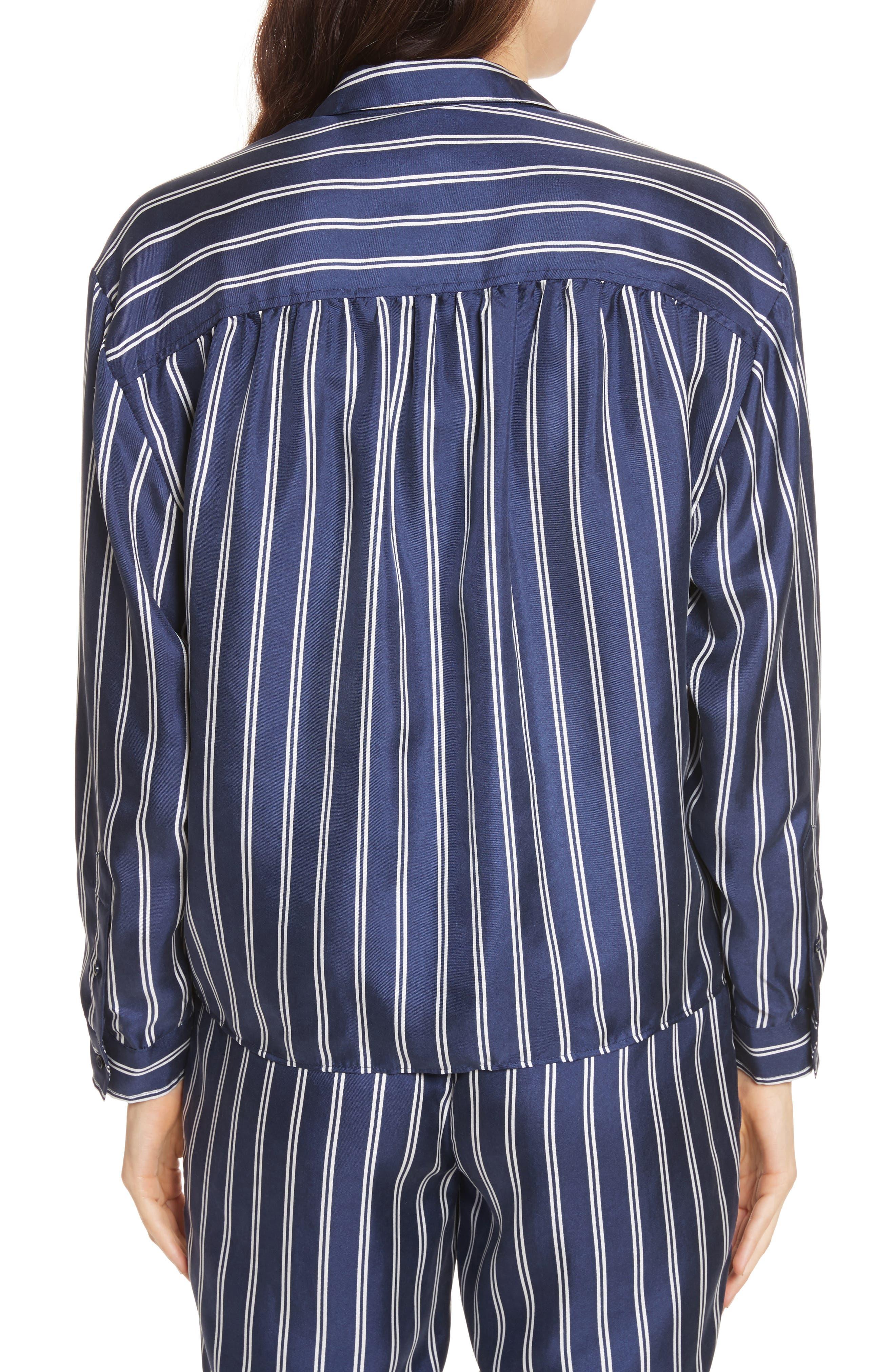 Adiba Stripe Silk Shirt,                             Alternate thumbnail 2, color,                             Dark Navy