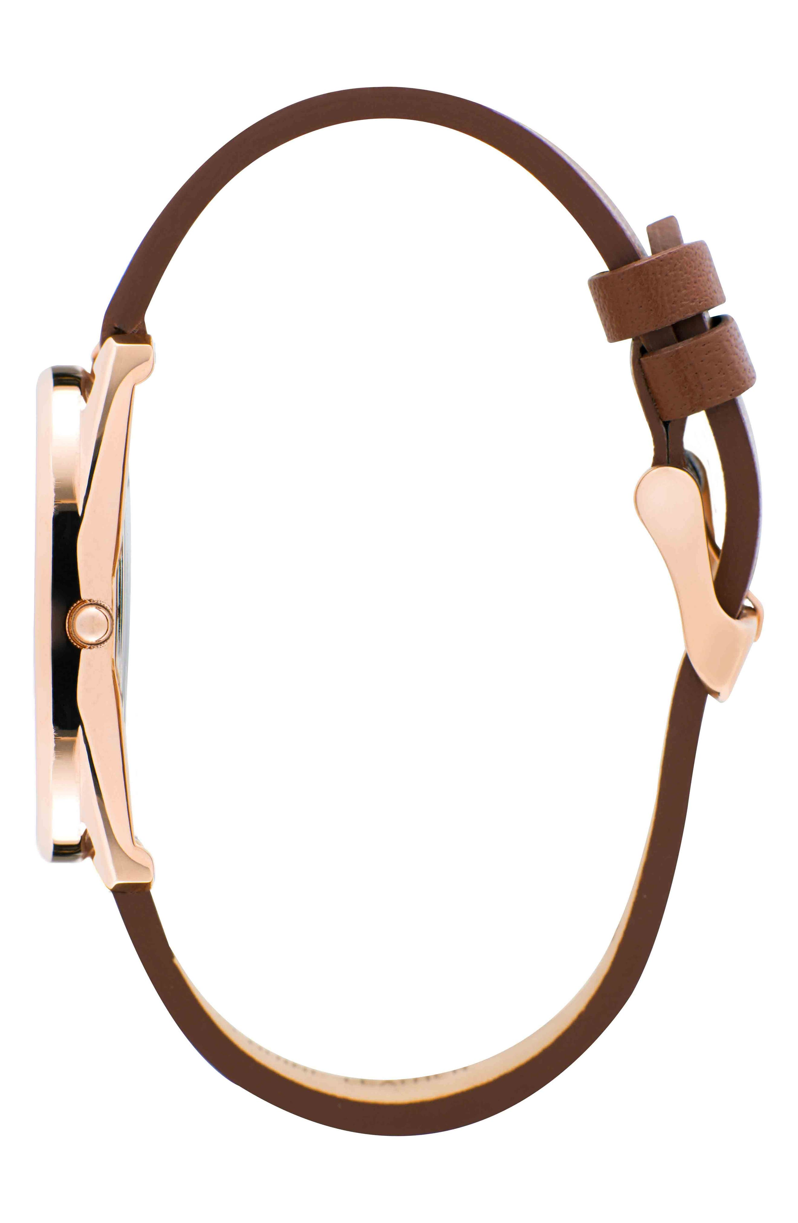 Leonard & Church Chelsea Leather Strap Watch, 34mm,                             Alternate thumbnail 2, color,                             Brown/ White/ Rose Gold