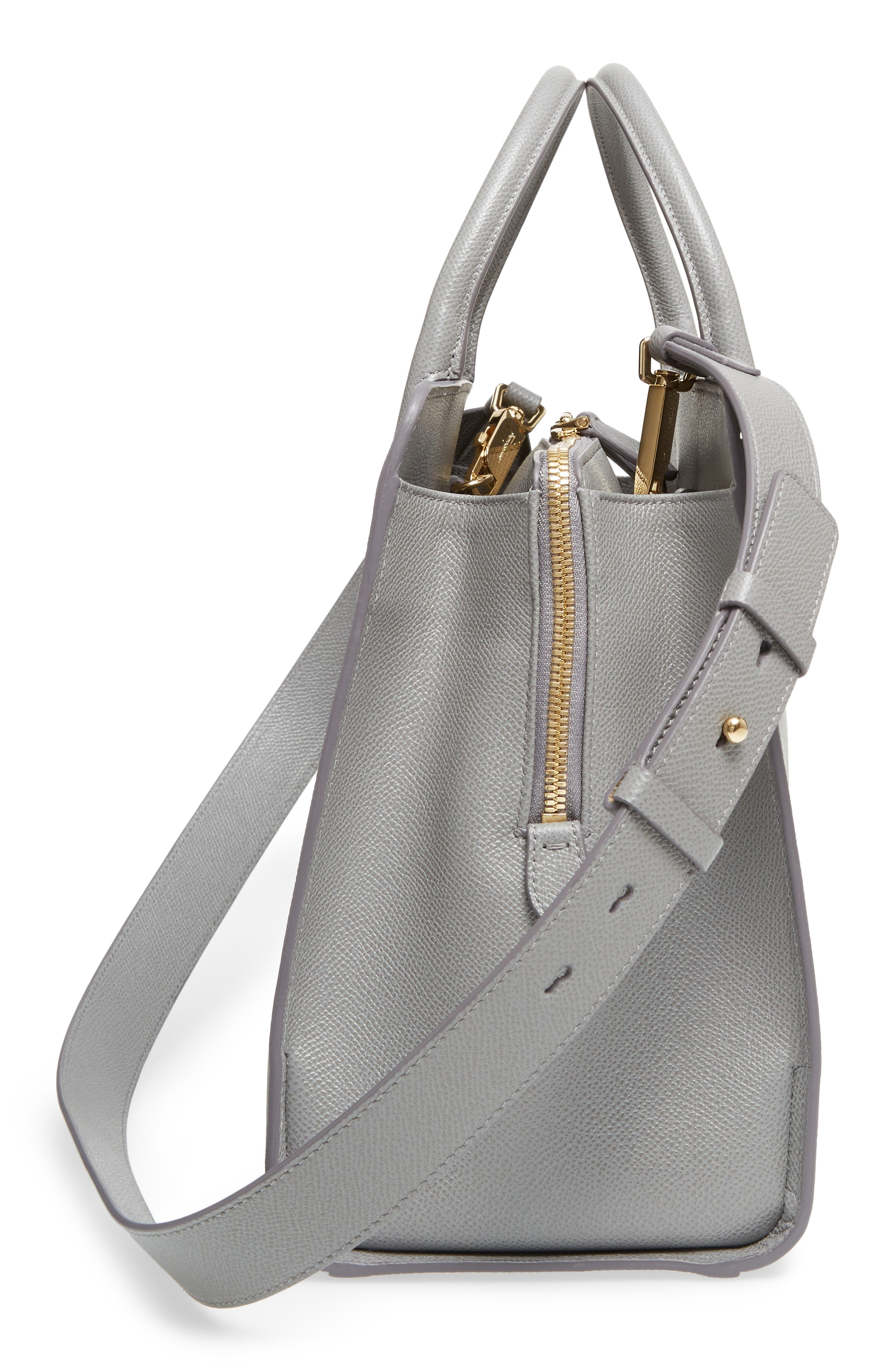 Small Today Leather Satchel,                             Alternate thumbnail 5, color,                             Fossil Grey