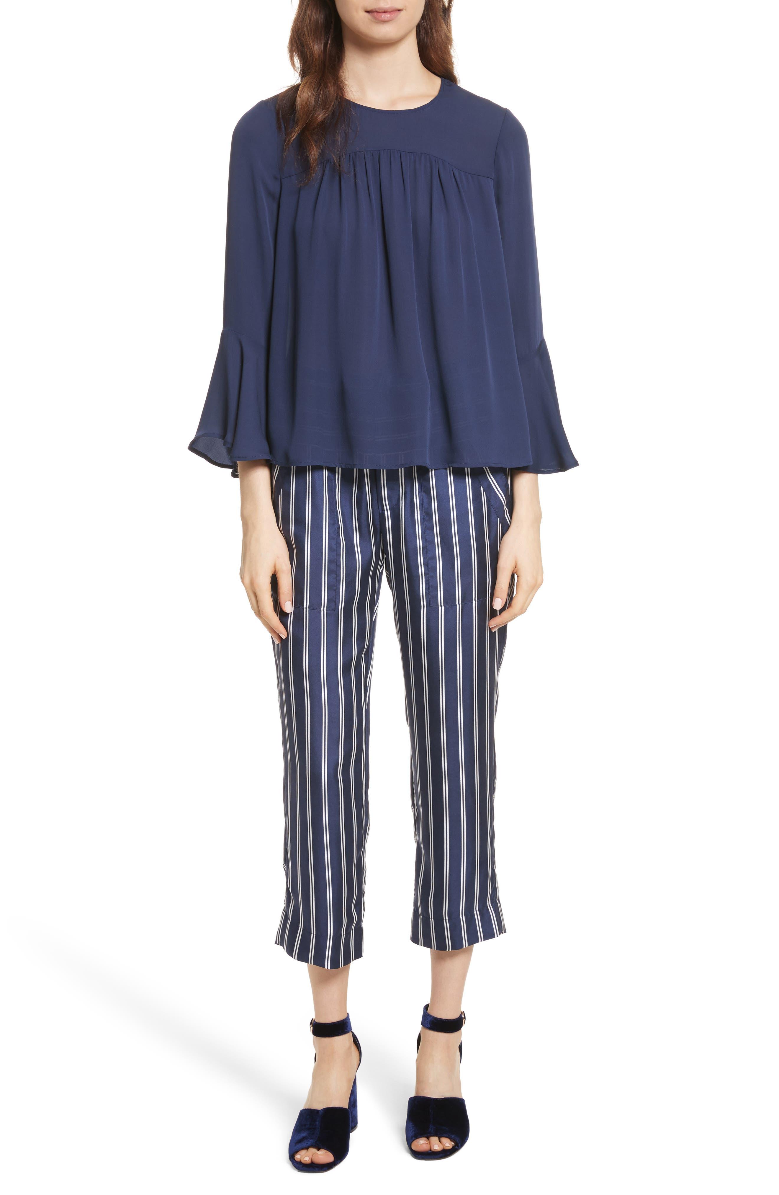 Addiena Stripe Silk Pants,                             Alternate thumbnail 8, color,                             Dark Navy