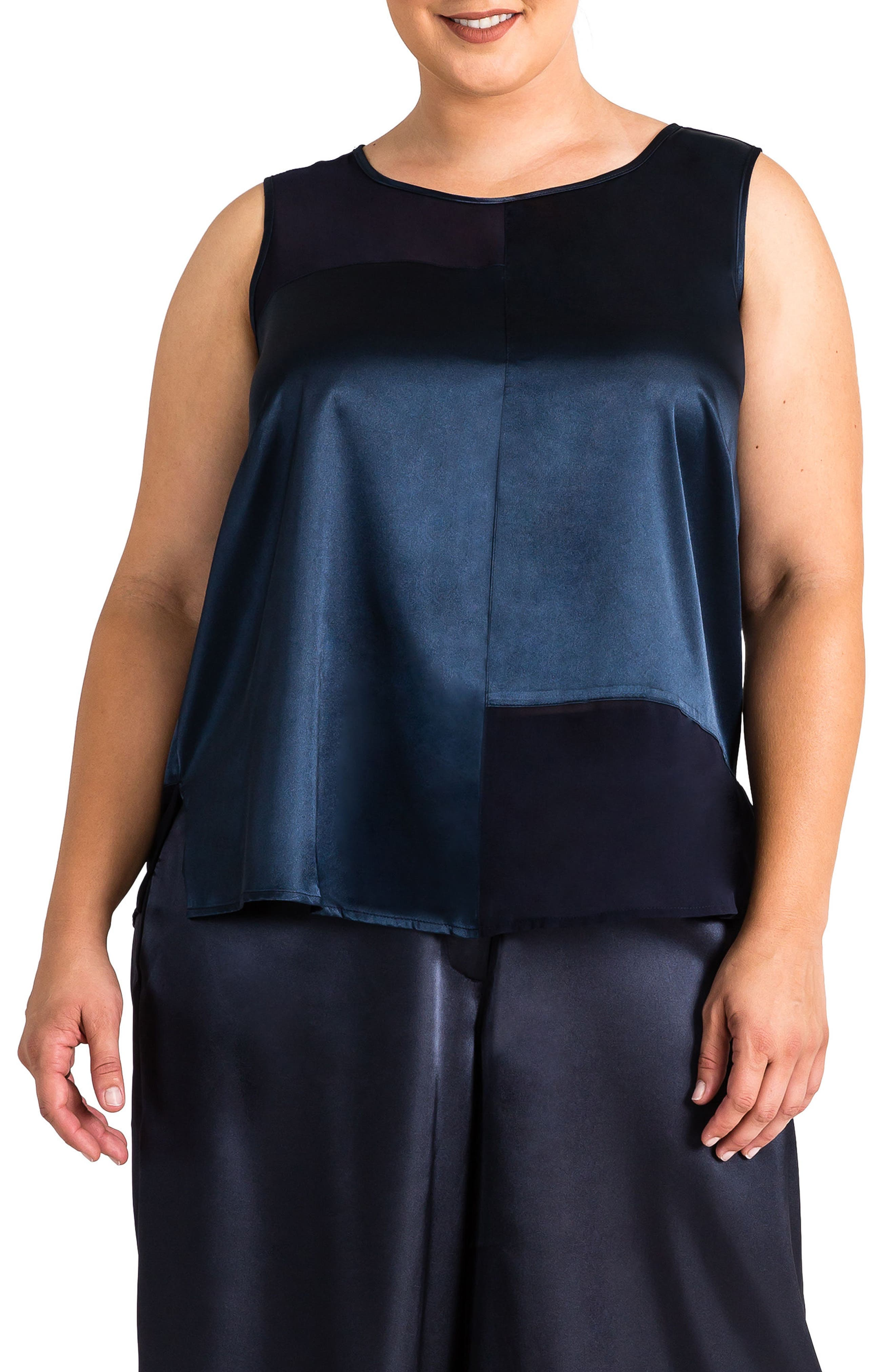 Jenny Sheer Inset Top,                             Main thumbnail 1, color,                             Midnight Blue