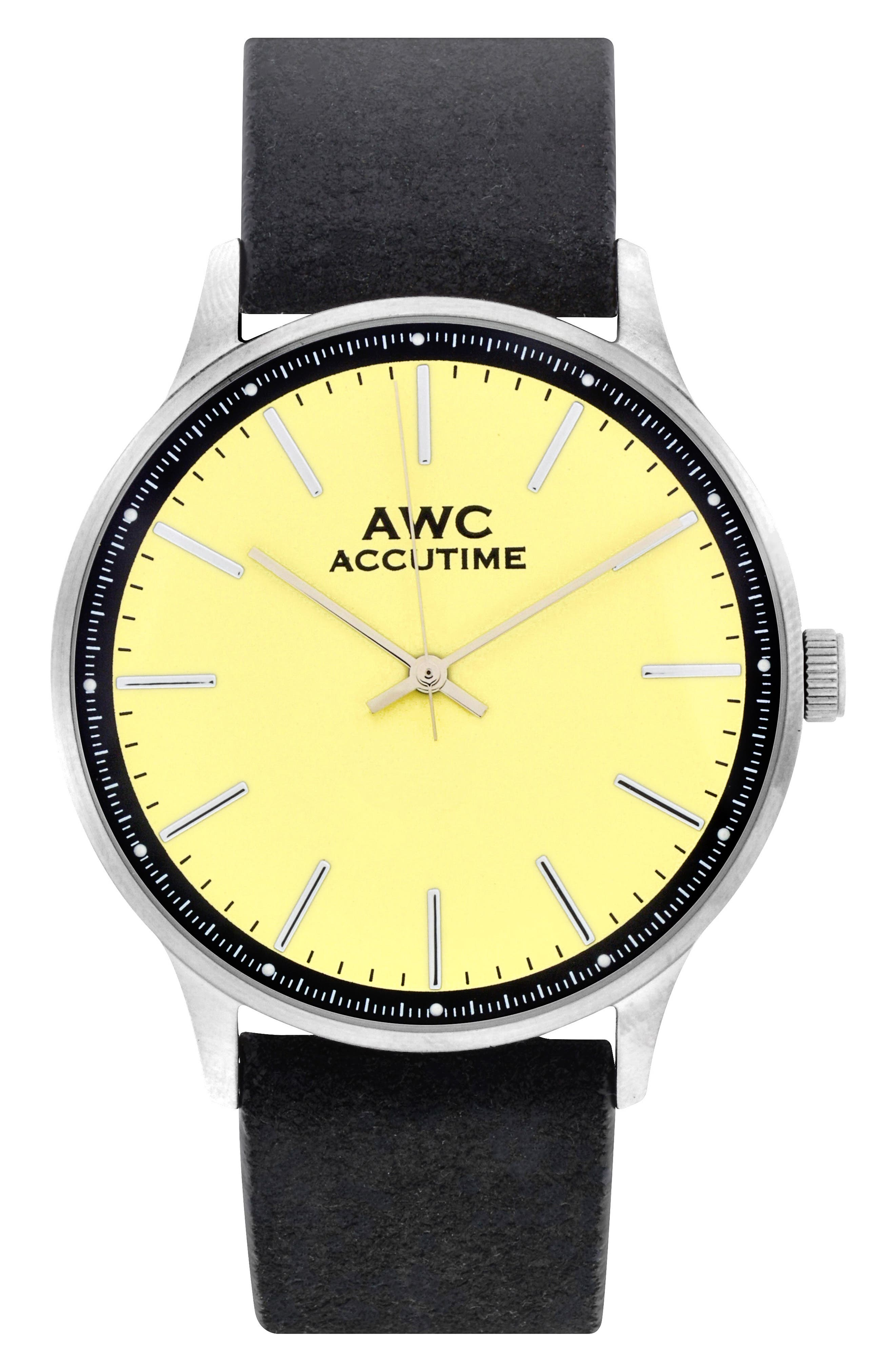Main Image - Accutime Mark Suede Strap Watch, 40mm