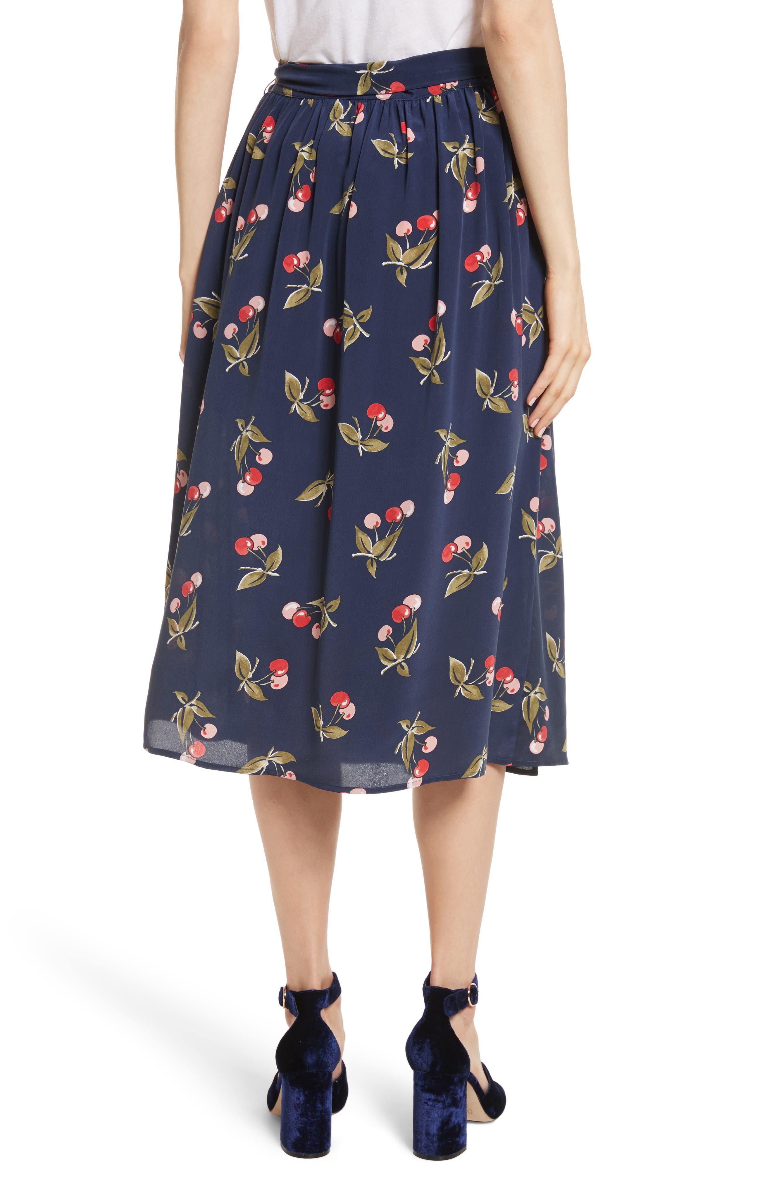 Almudena Cherry Print Silk Wrap Skirt,                             Alternate thumbnail 2, color,                             Dark Navy
