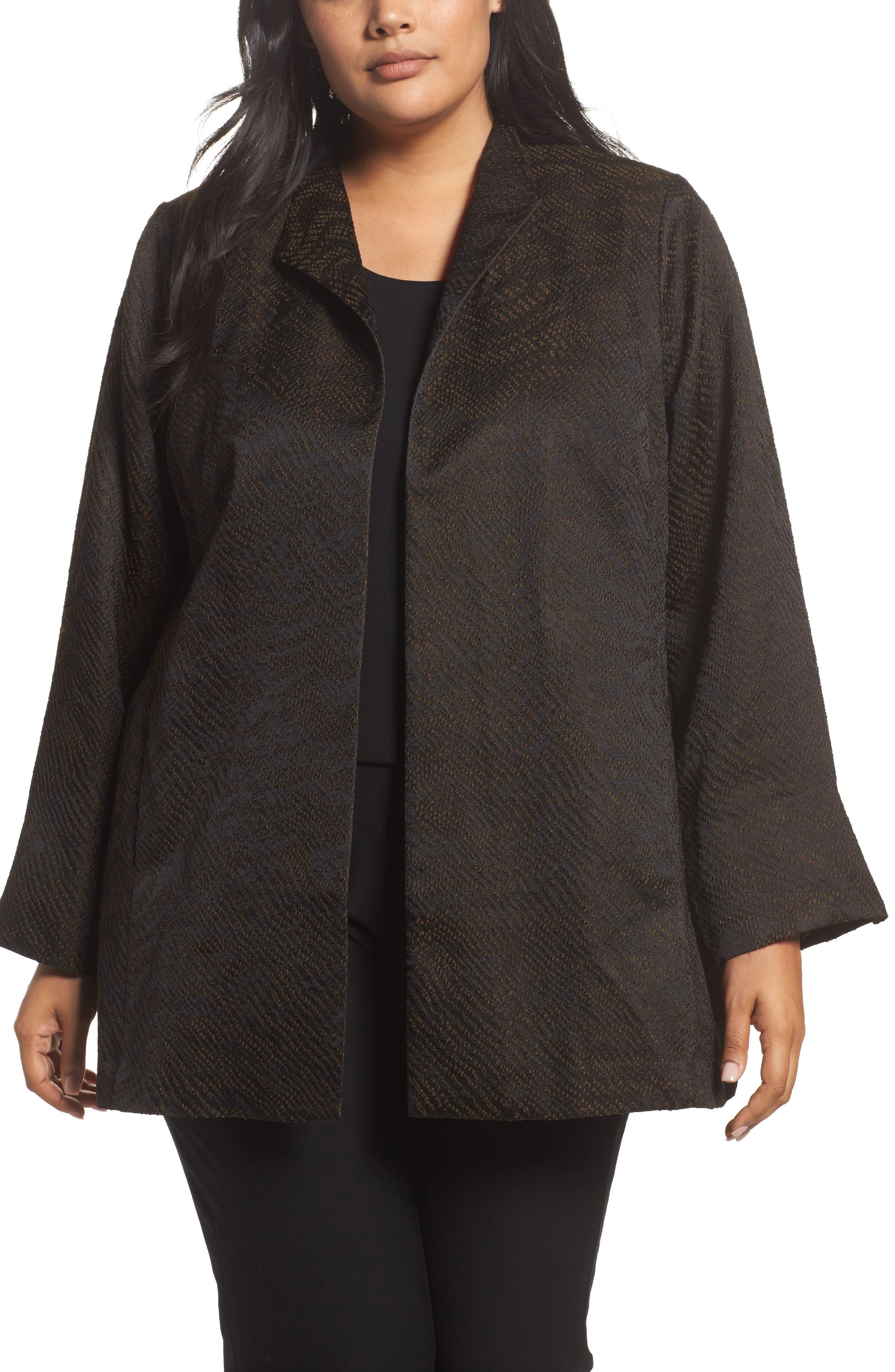 Eileen Fisher Silk Blend Jacquard Jacket (Plus Size)