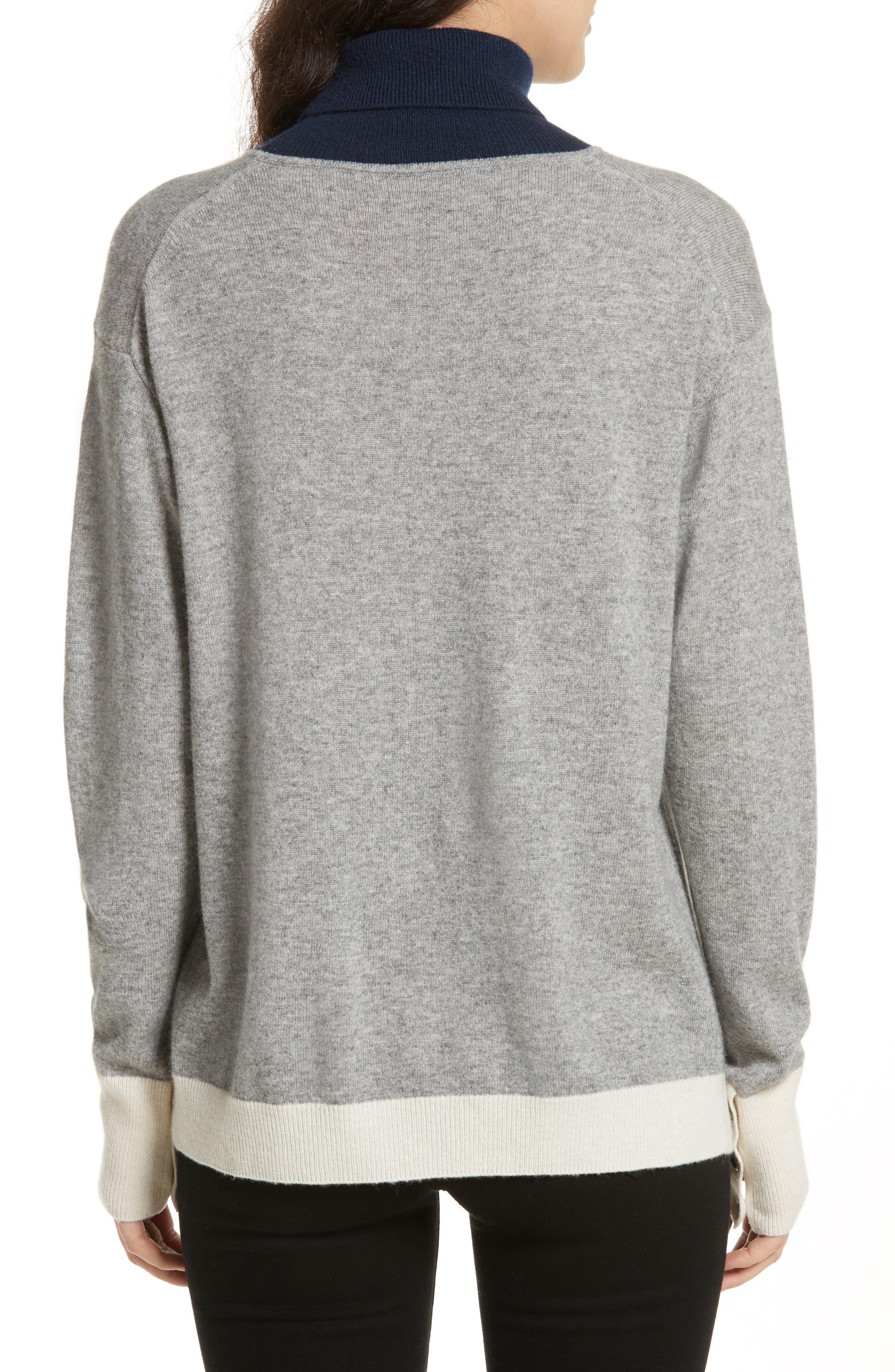 Rhea Wool & Cashmere Turtleneck Sweater,                             Alternate thumbnail 2, color,                             Grey Heather