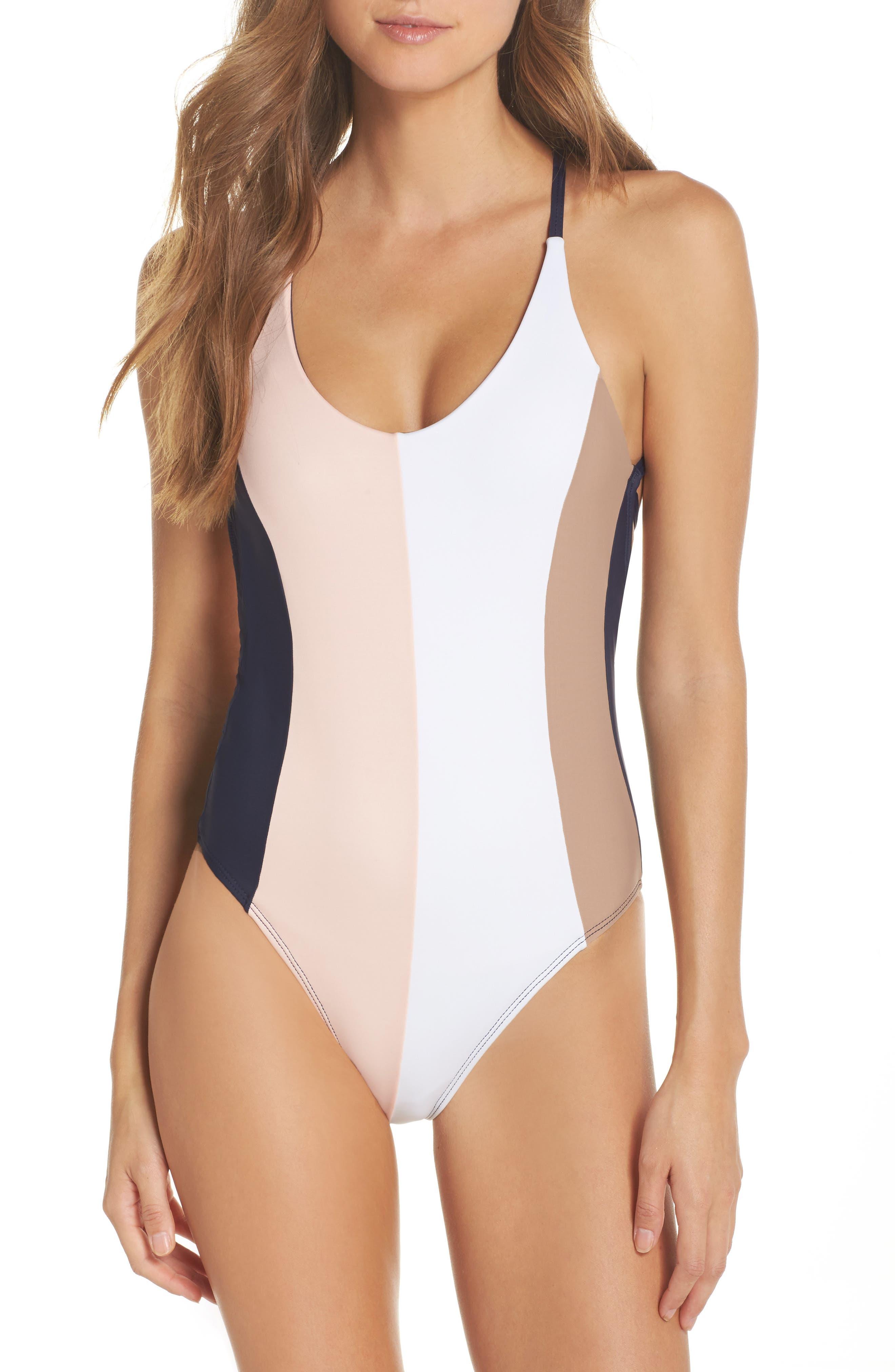 Farrah Colorblock One-Piece Swimsuit,                         Main,                         color, Nautica