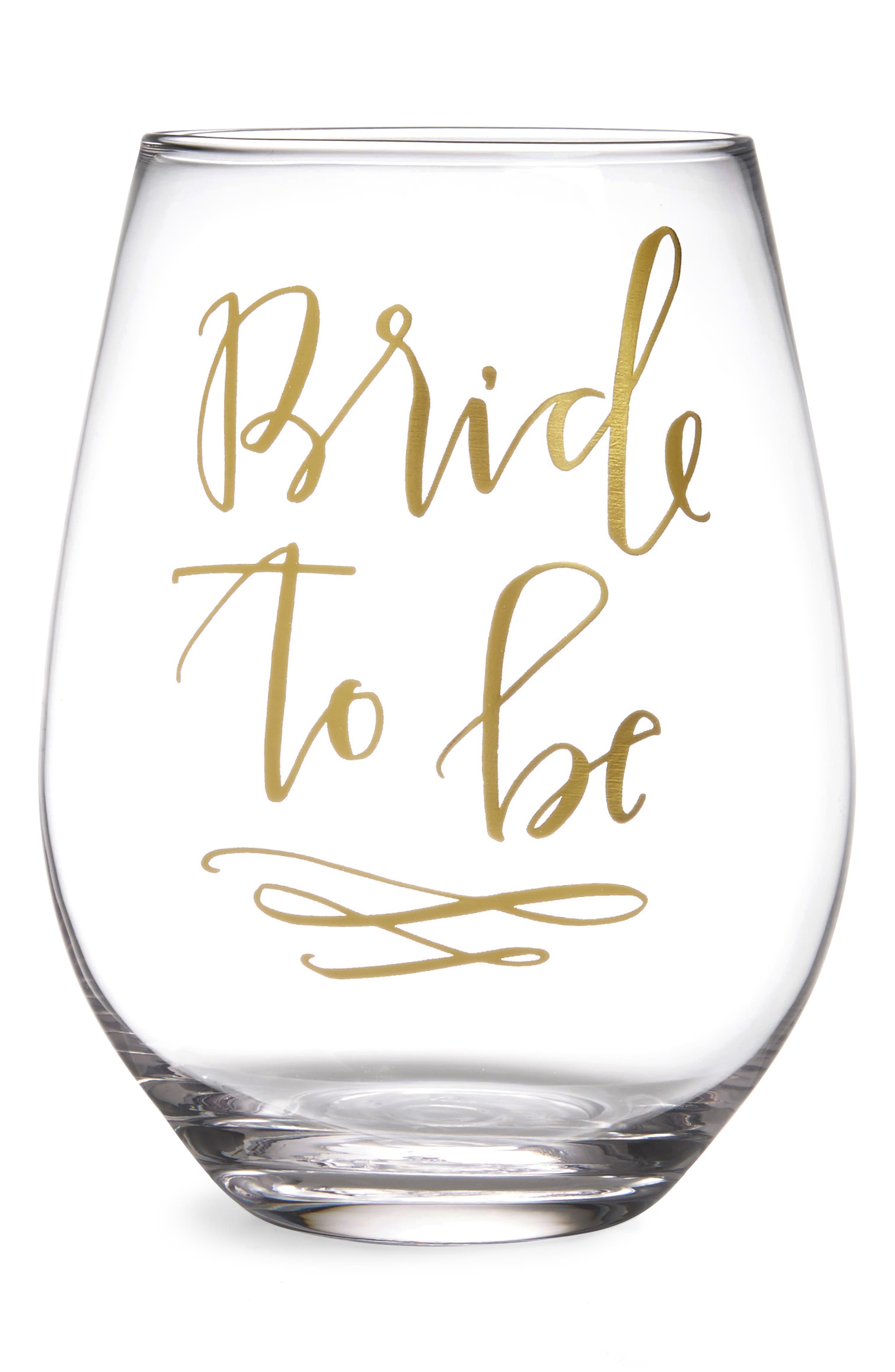 Bride To Be Stemless Wine Glass,                             Main thumbnail 1, color,                             Gold