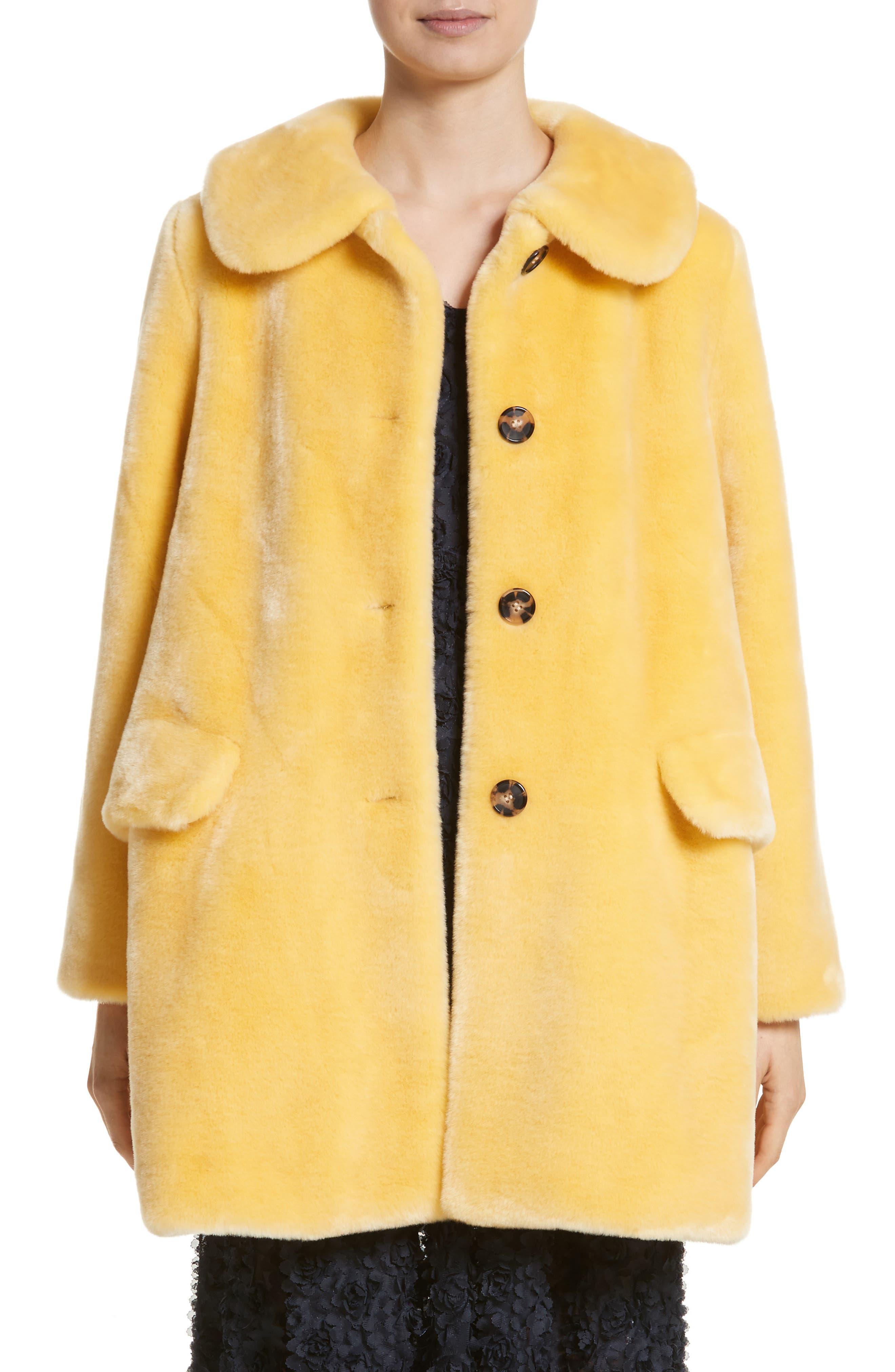 Pyrus Oversized Faux Fur Coat,                         Main,                         color, Lemon