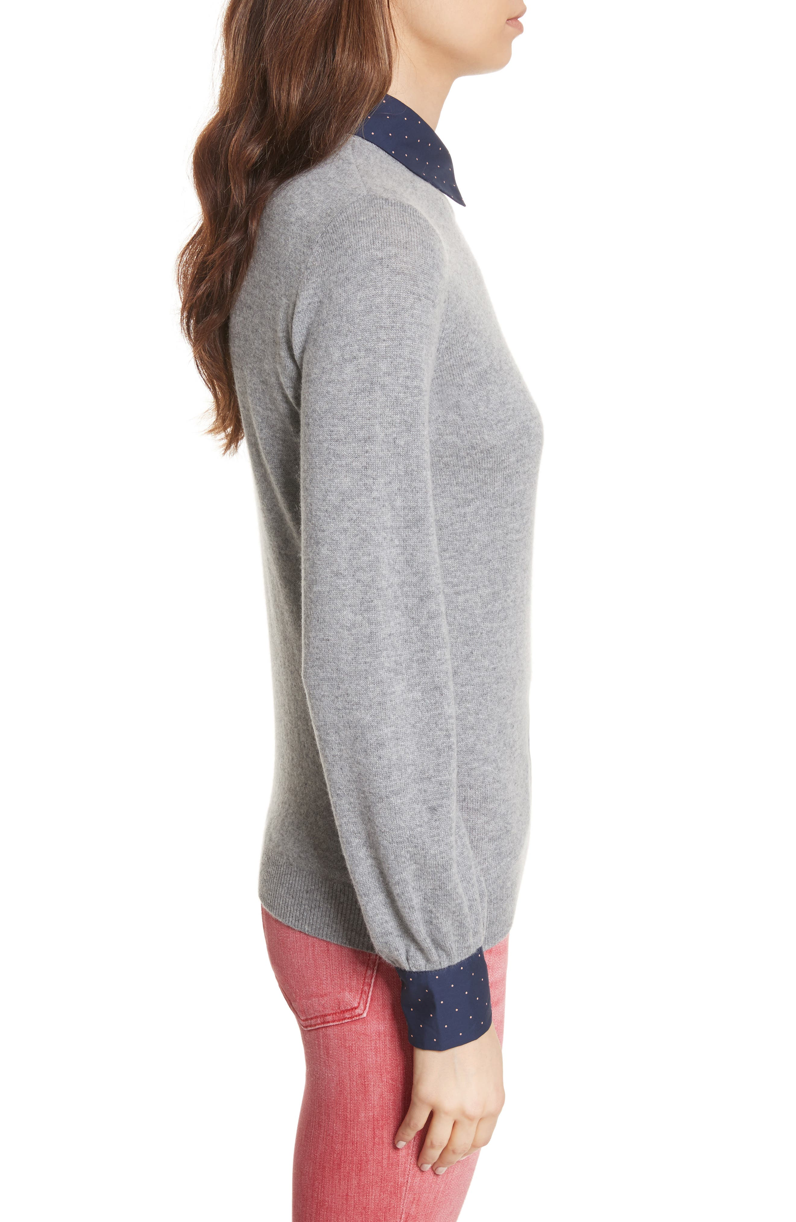 Bahiti Woven Trim Wool & Cashmere Sweater,                             Alternate thumbnail 3, color,                             Heather Grey/ Dark Navy