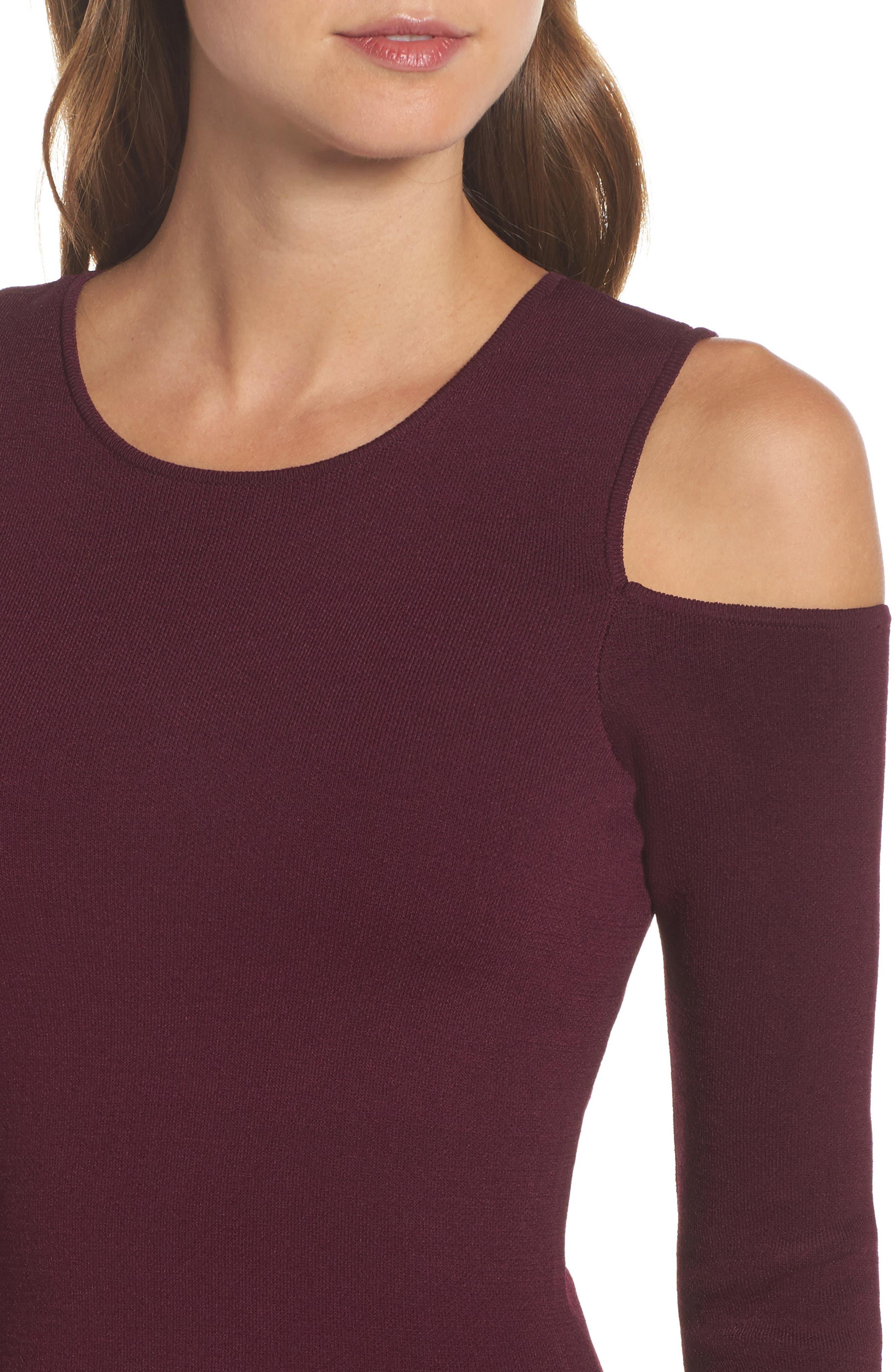 Cold Shoulder Knit Body-Con Dress,                             Alternate thumbnail 4, color,                             Aubergine