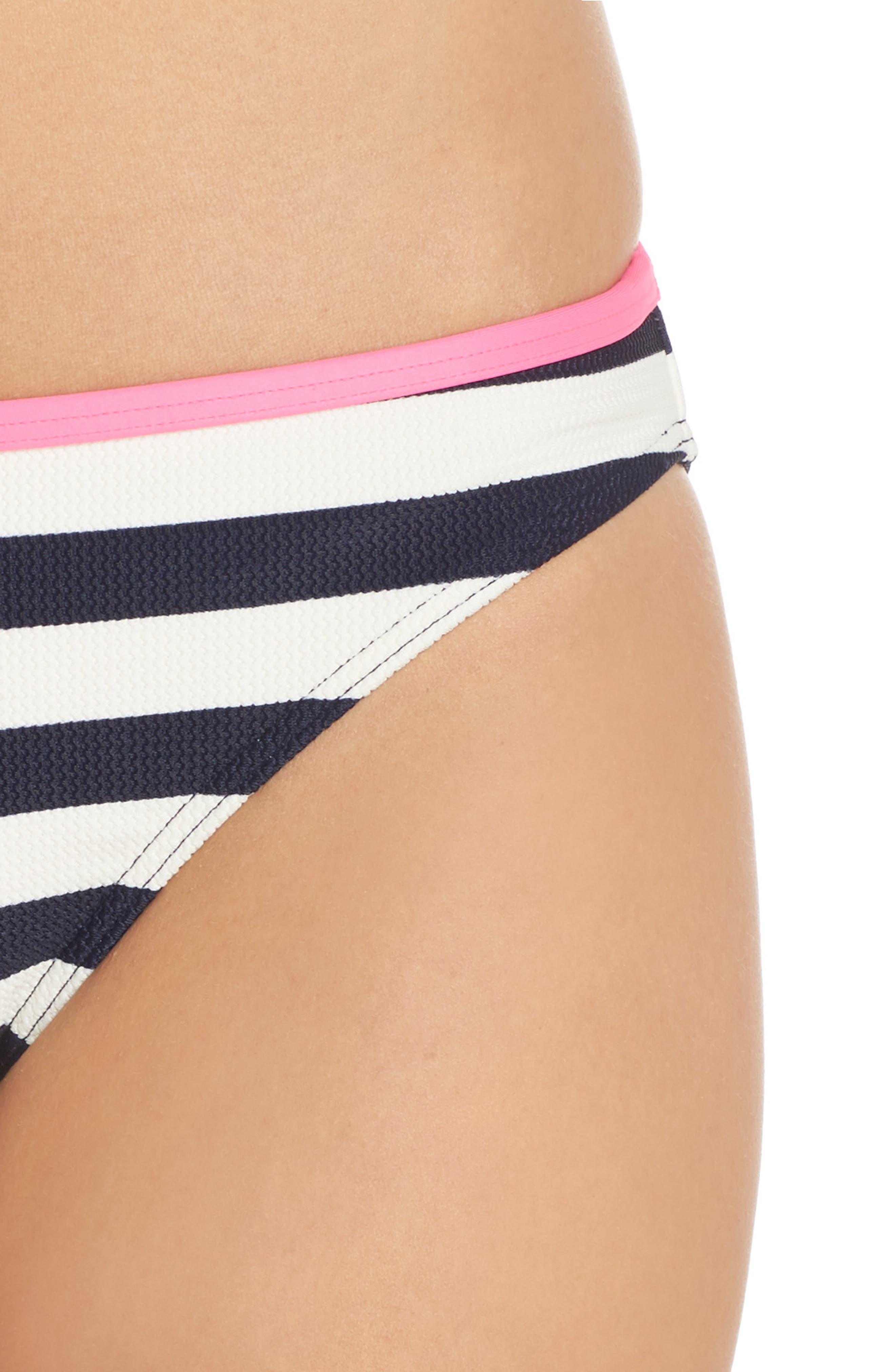 Textured Stripe Hipster Bikini Bottoms,                             Alternate thumbnail 4, color,                             Navy