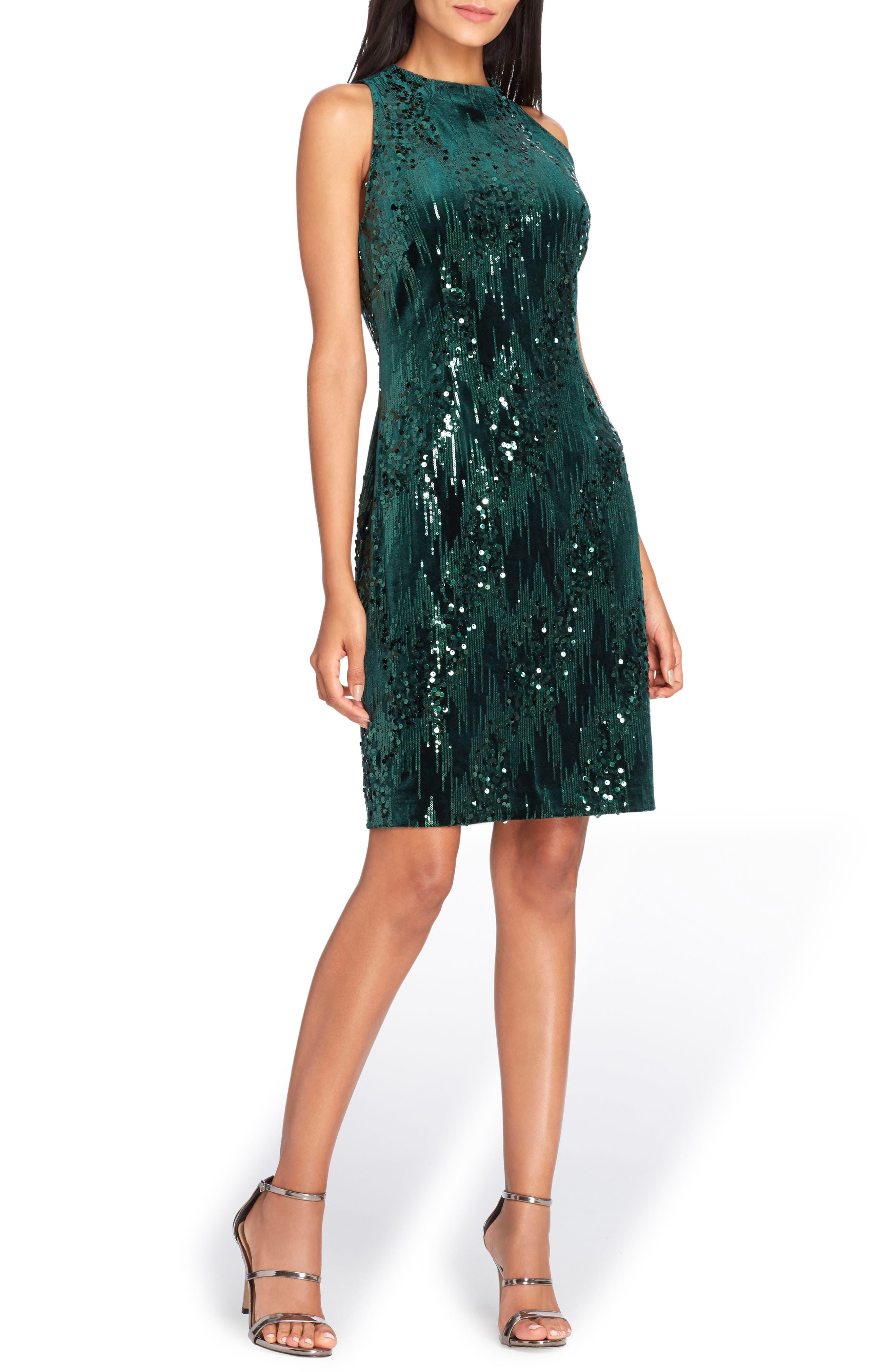 Sequin Velvet Sheath Dress,                         Main,                         color, Forest Green