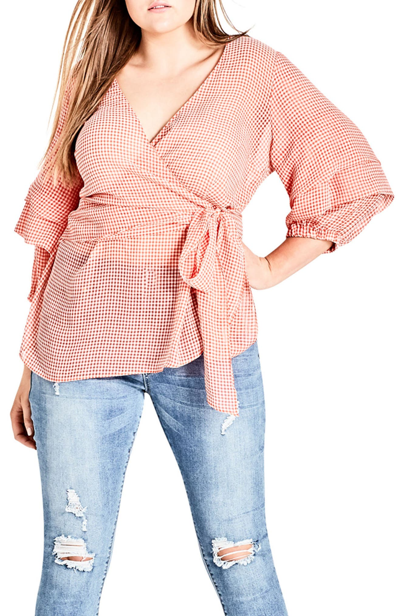 Alternate Image 1 Selected - City Chic My Desire Check Print Wrap Top (Plus Size)