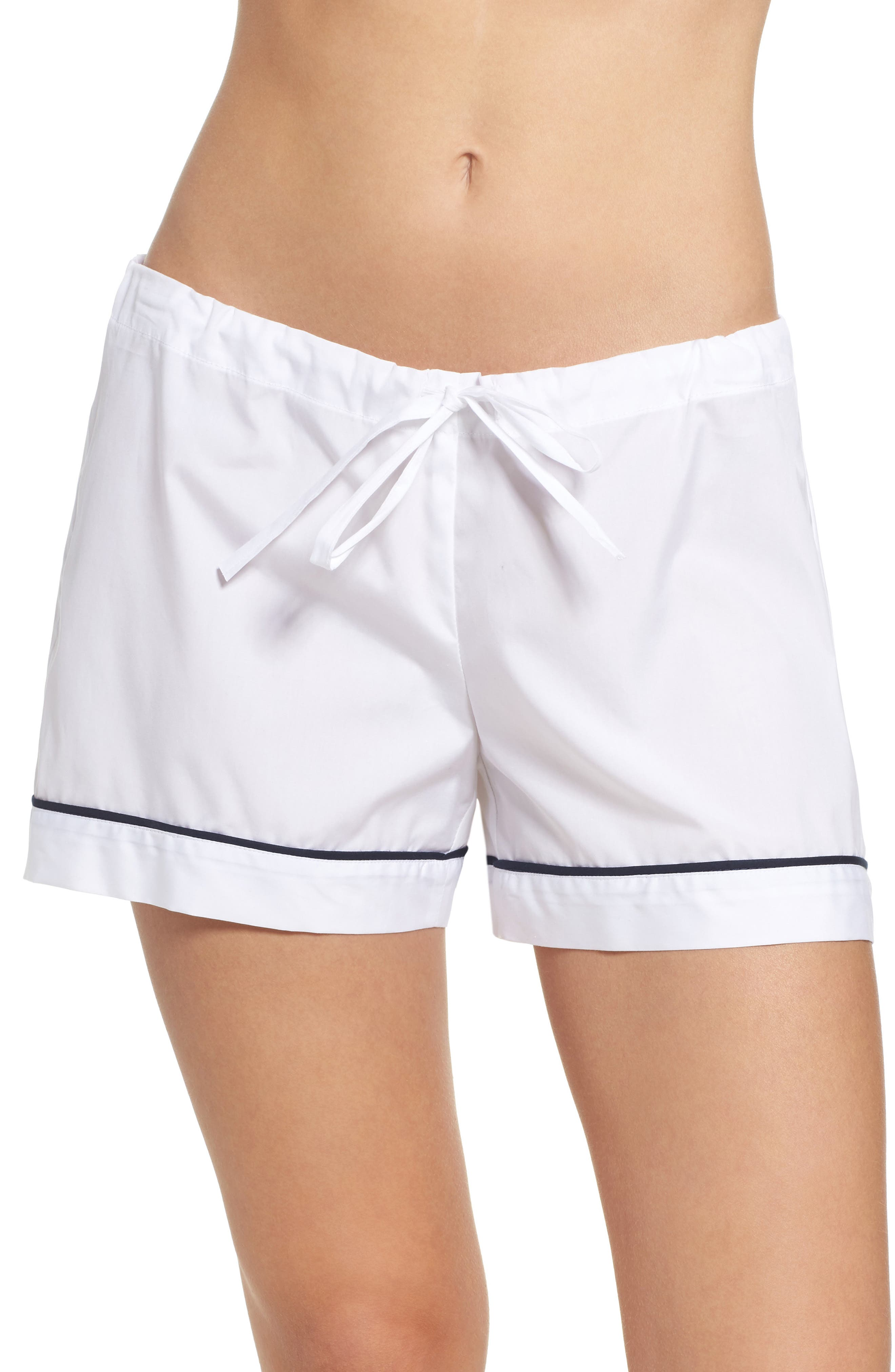 Piped Pajama Shorts,                         Main,                         color, White With Navy Piping