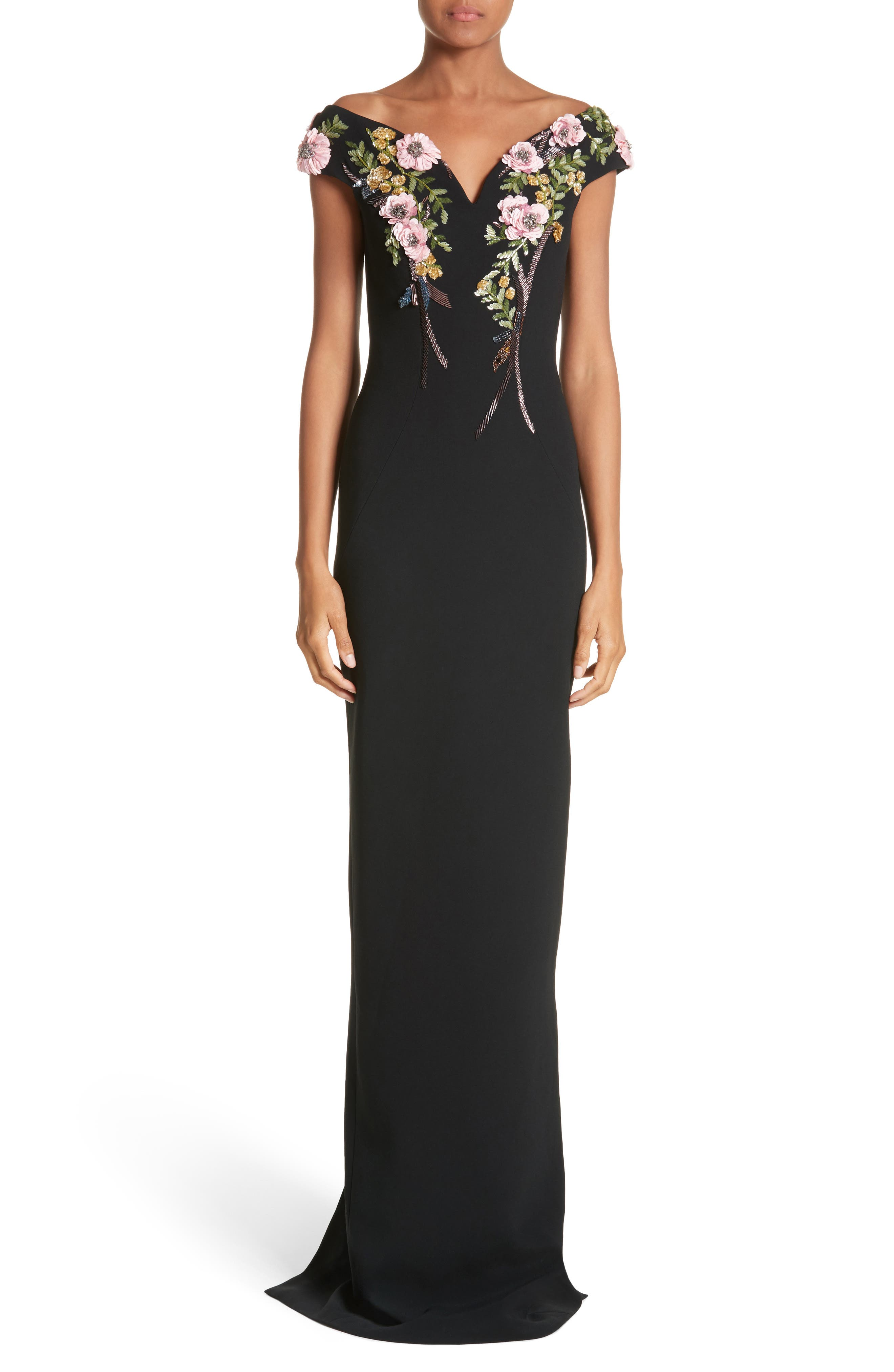 Embellished Stretch Crepe Off the Shoulder Gown,                             Main thumbnail 1, color,                             Black