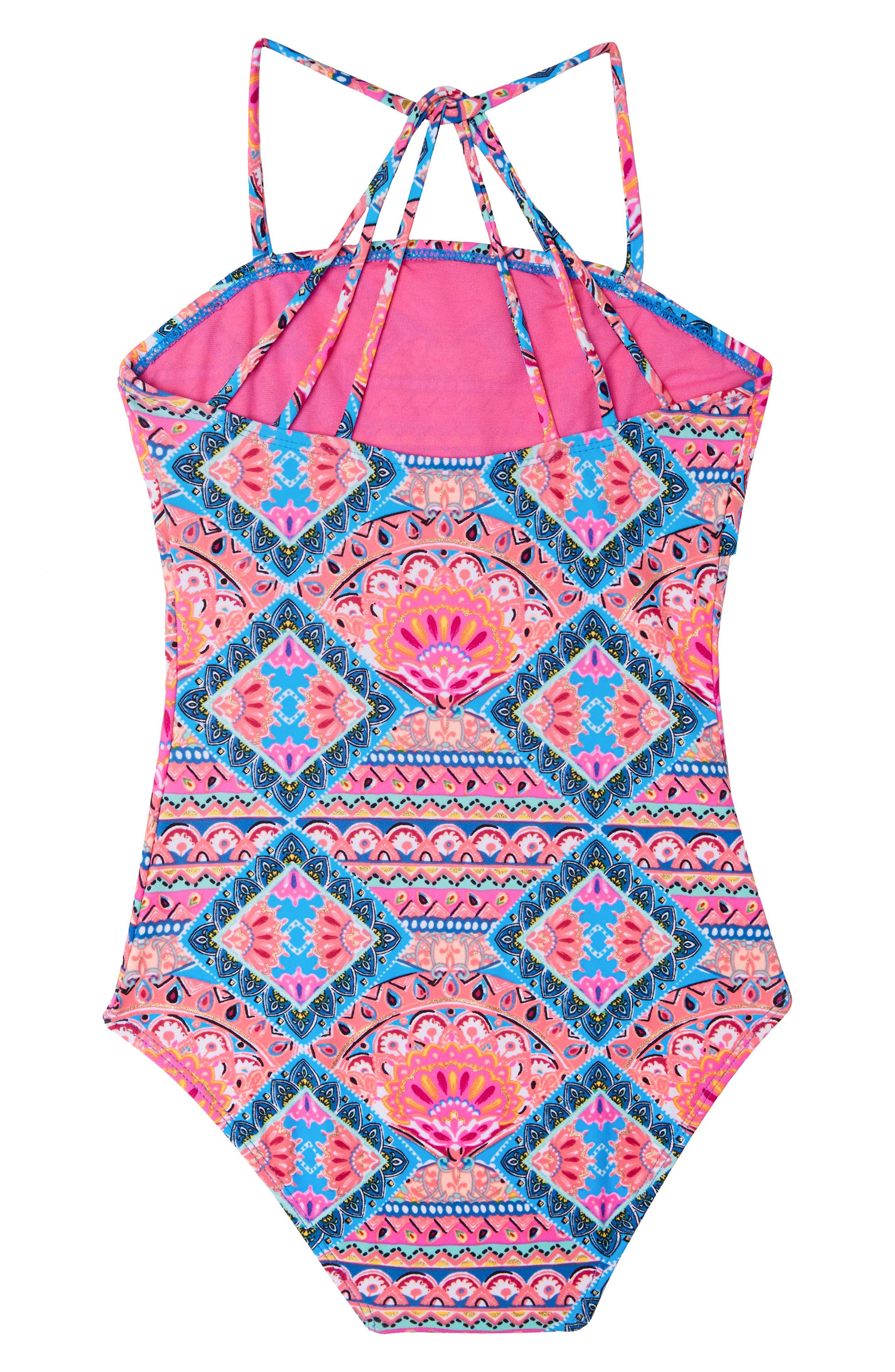 Alternate Image 2  - Gossip Girl Mixed Print One-Piece Swimsuit (Big Girls)