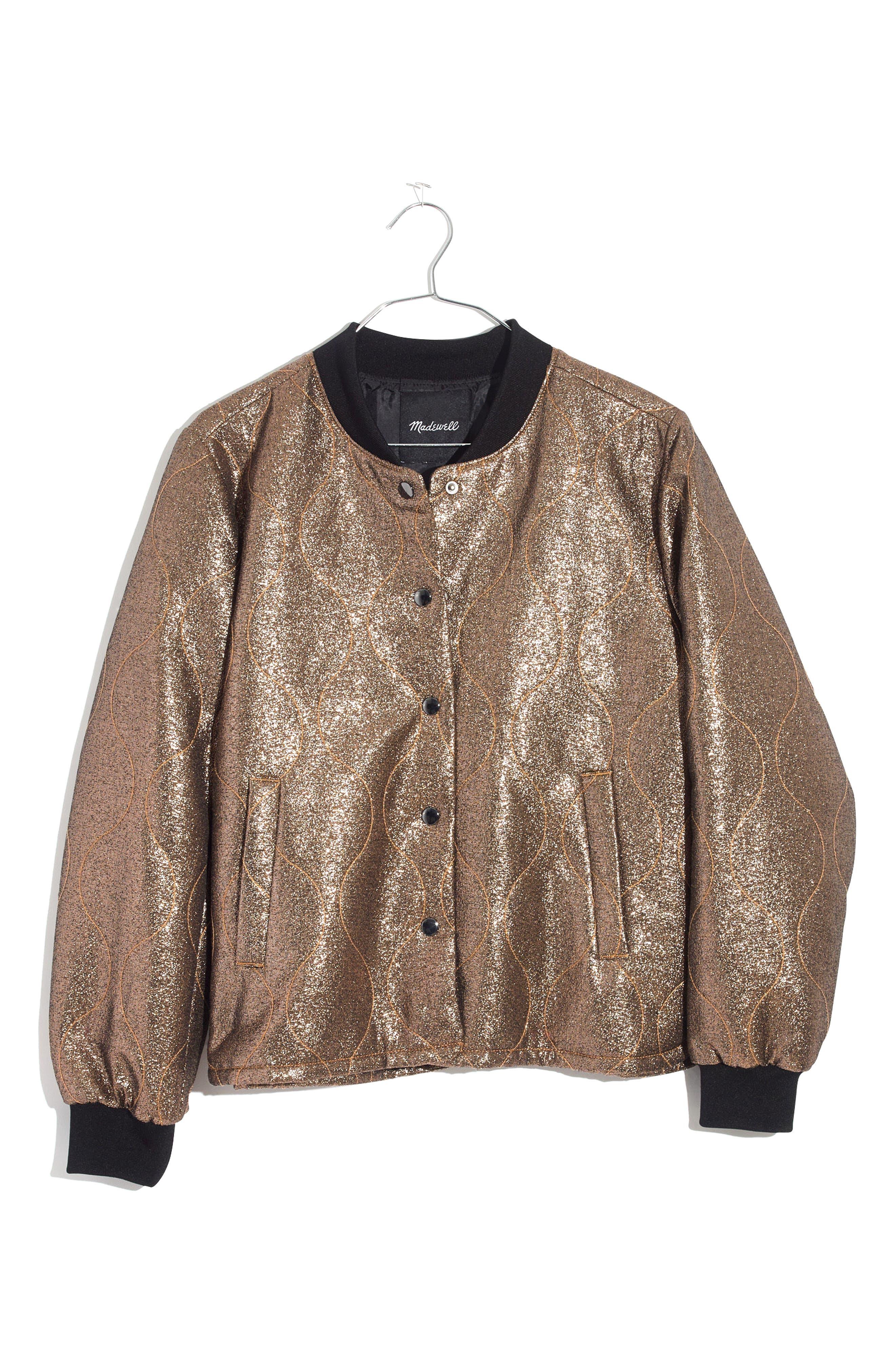 Alternate Image 4  - Madewell Metallic Quilted Military Jacket