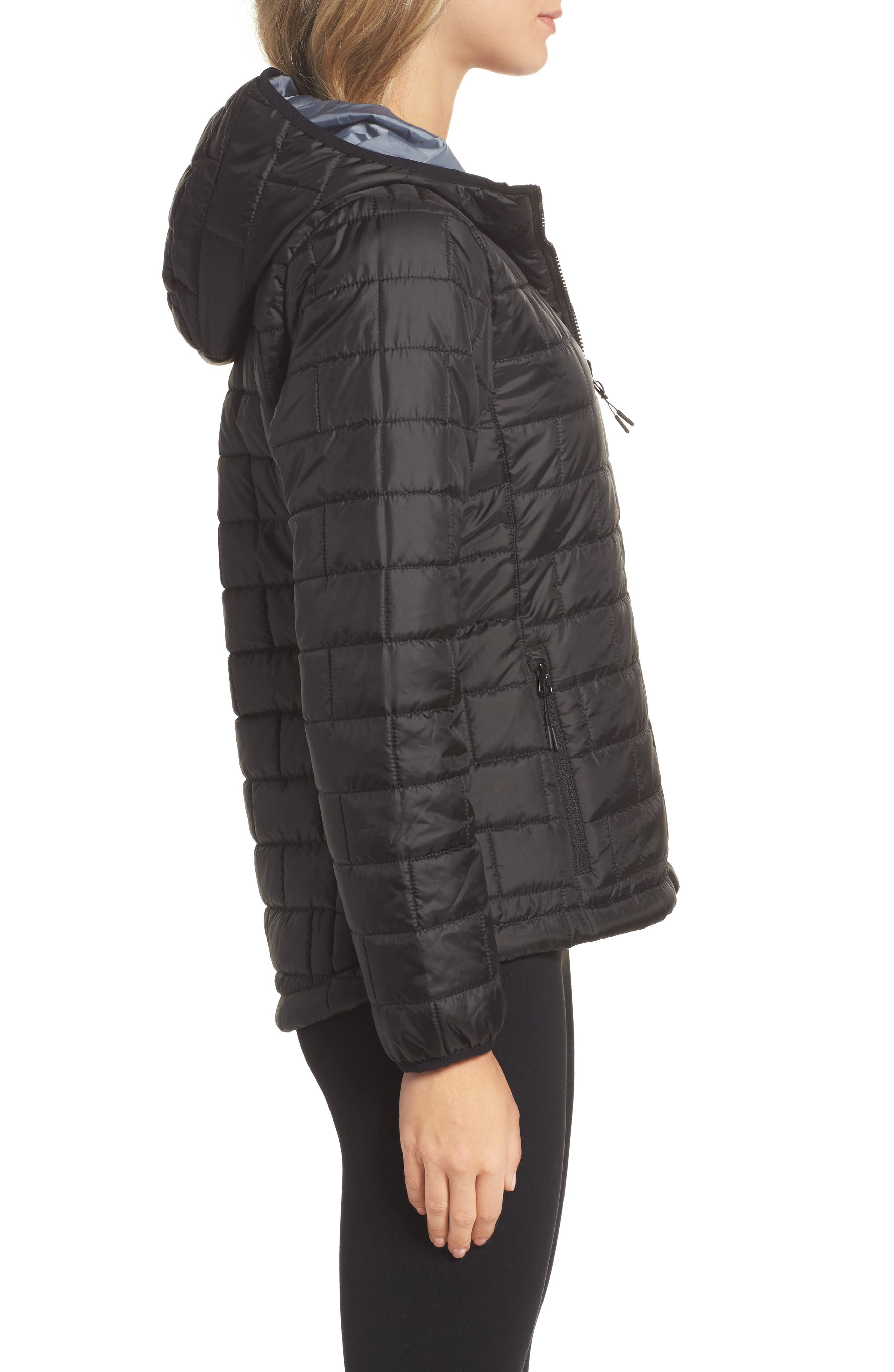 Highland Reversible Water-Resistant & Windproof Quilted Puffer Jacket,                             Alternate thumbnail 4, color,                             Black/ Gunmetal