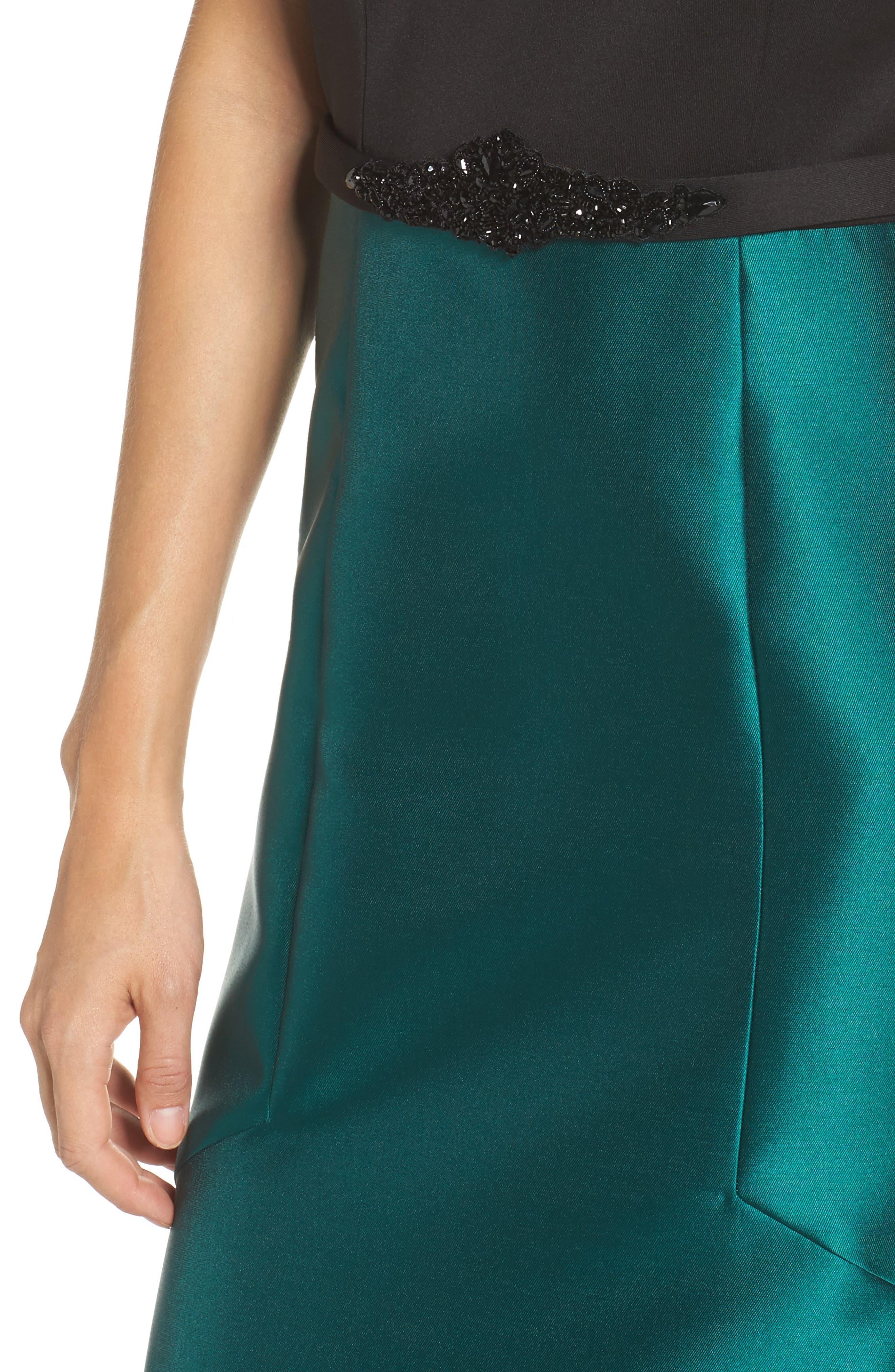 Mixed Media Off the Shoulder Trumpet Gown,                             Alternate thumbnail 4, color,                             Black Emerald