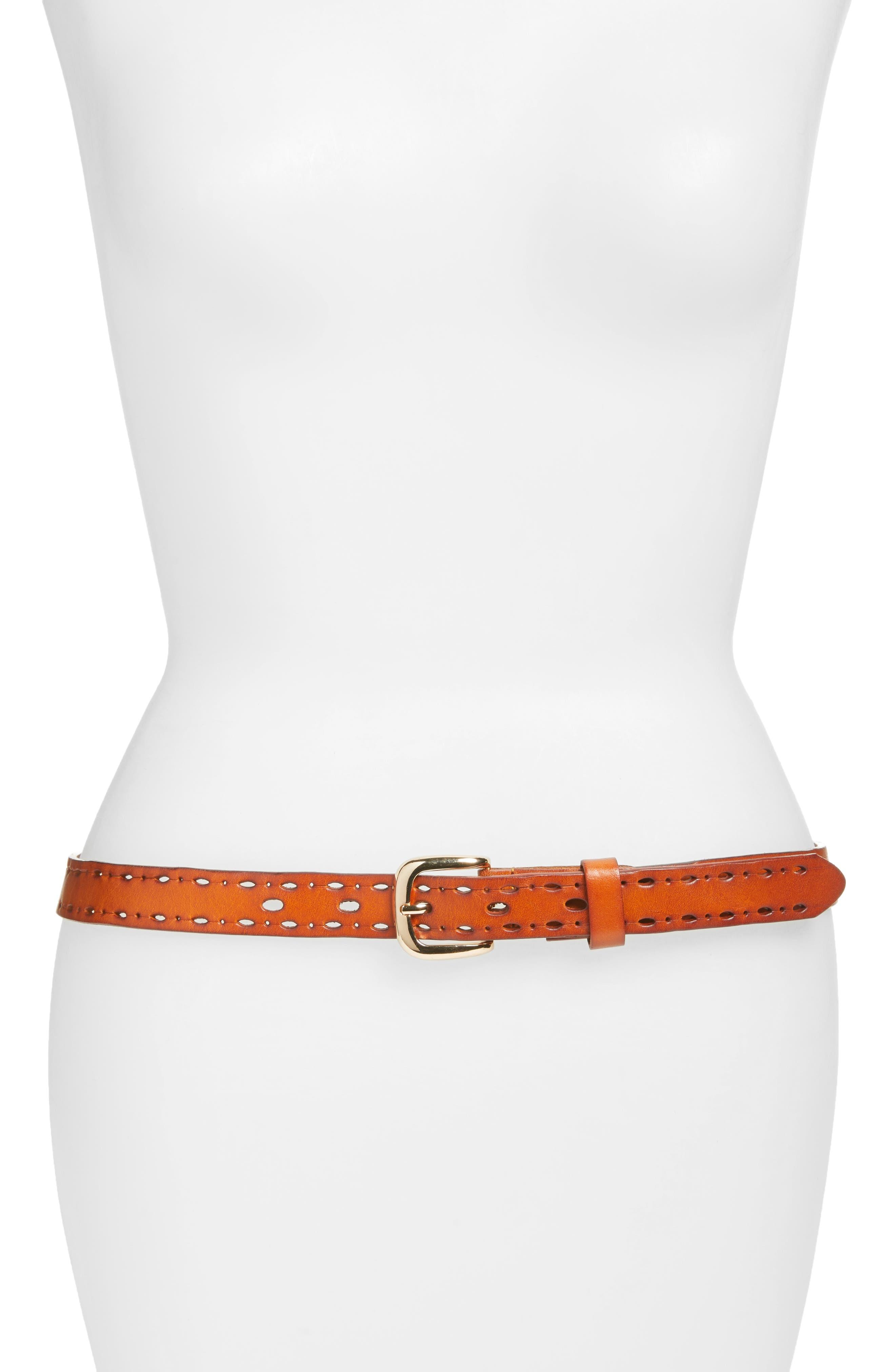 Trevor Perforated Leather Hip Belt,                             Main thumbnail 1, color,                             Cognac