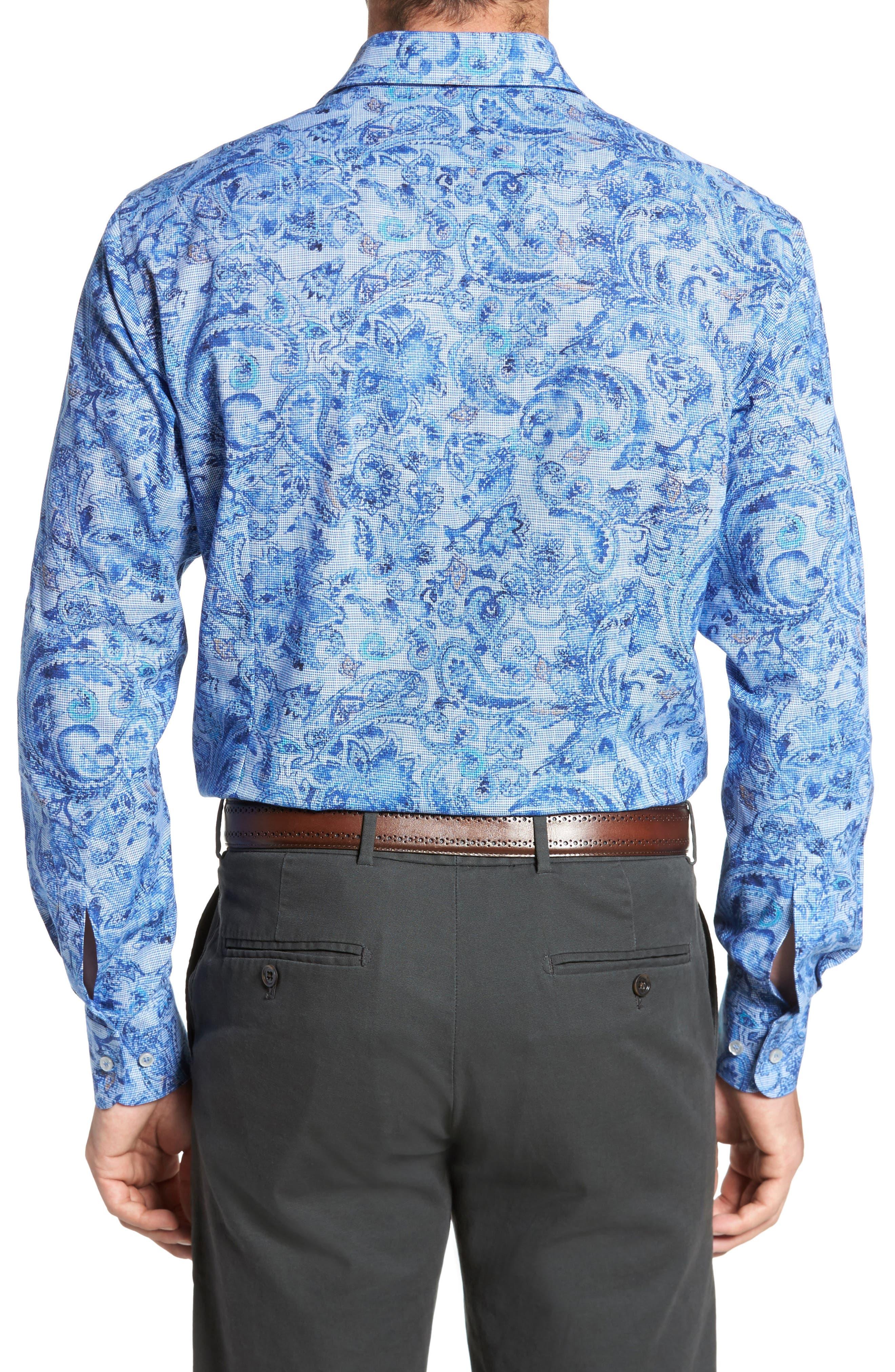 Paul&Shark Regular Fit Paisley Sport Shirt,                             Alternate thumbnail 2, color,                             Navy