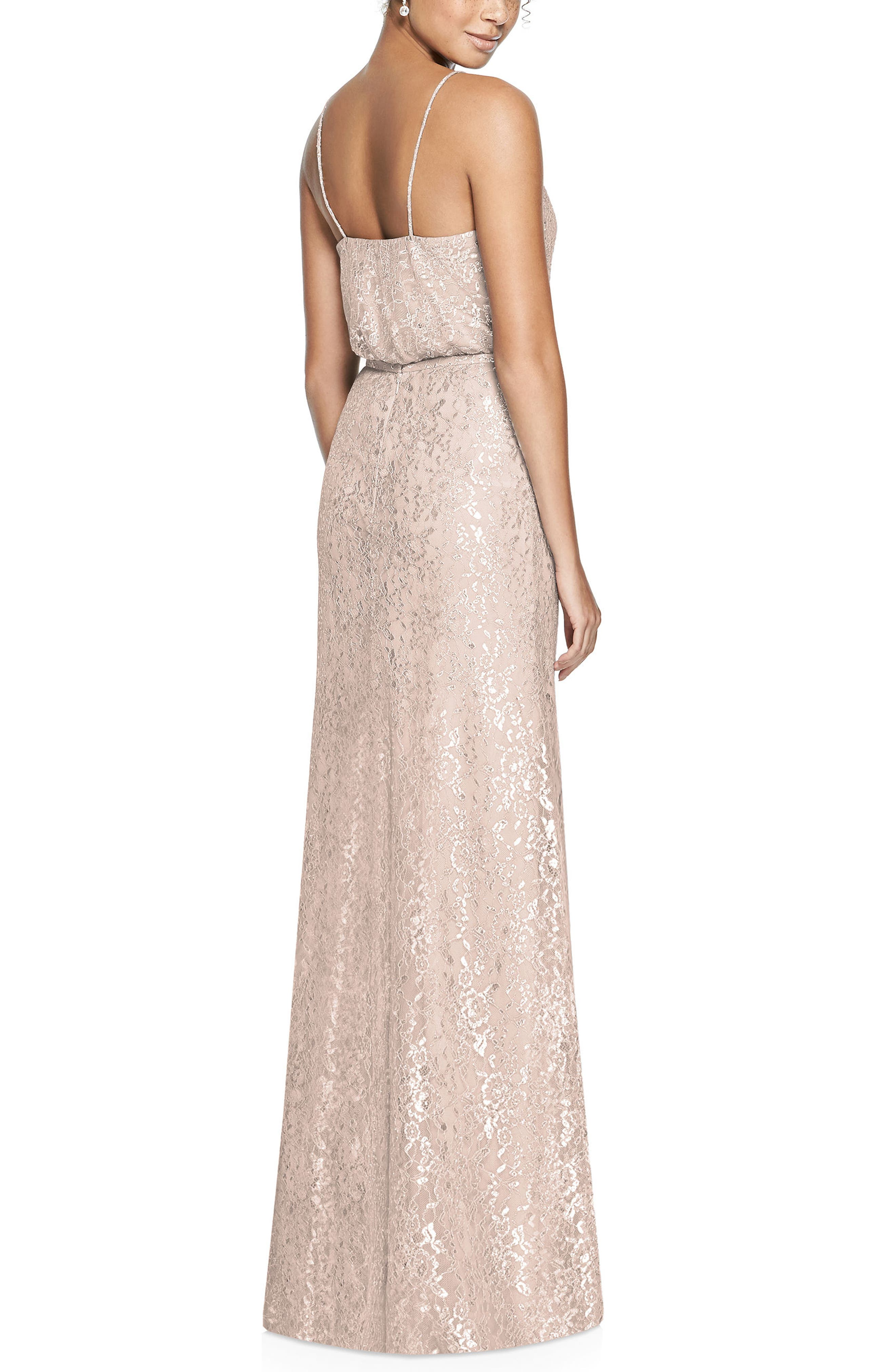 Metallic Lace Two-Piece Gown,                             Alternate thumbnail 2, color,                             Cameo