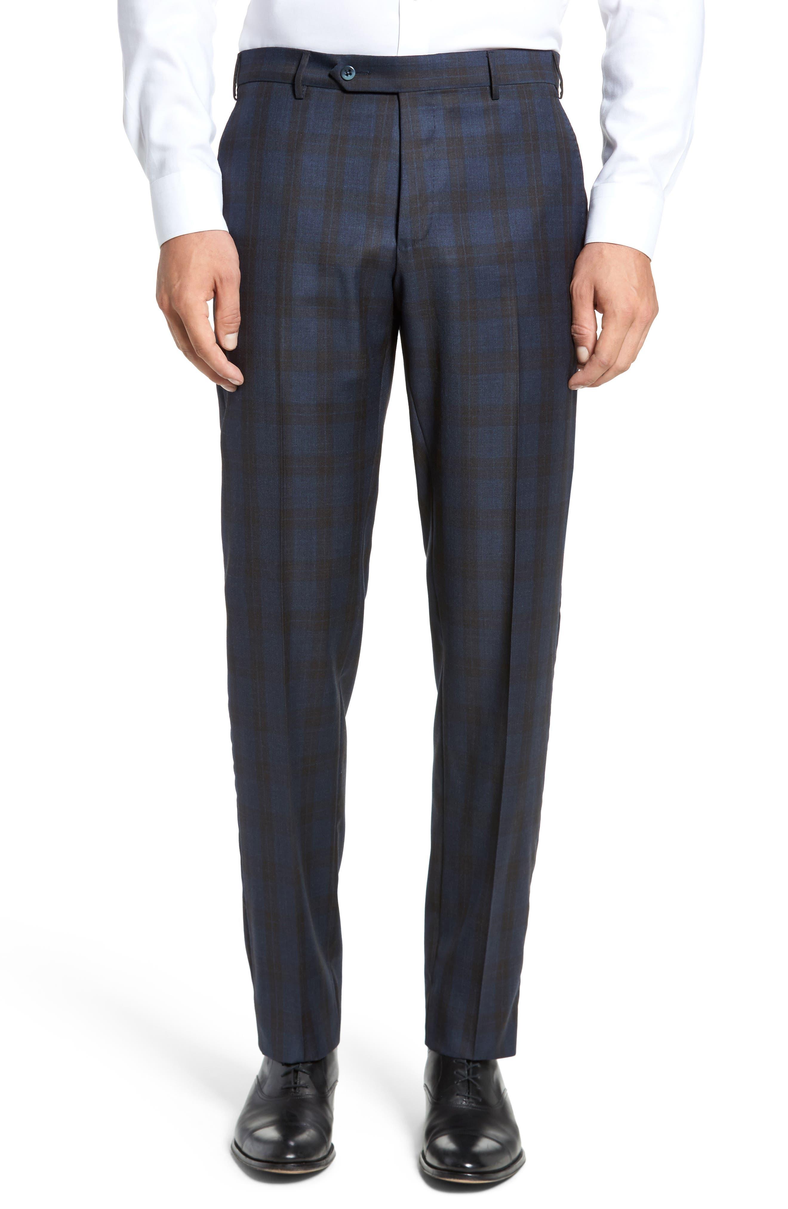 Parker Flat Front Plaid Wool Trousers,                         Main,                         color, Blue