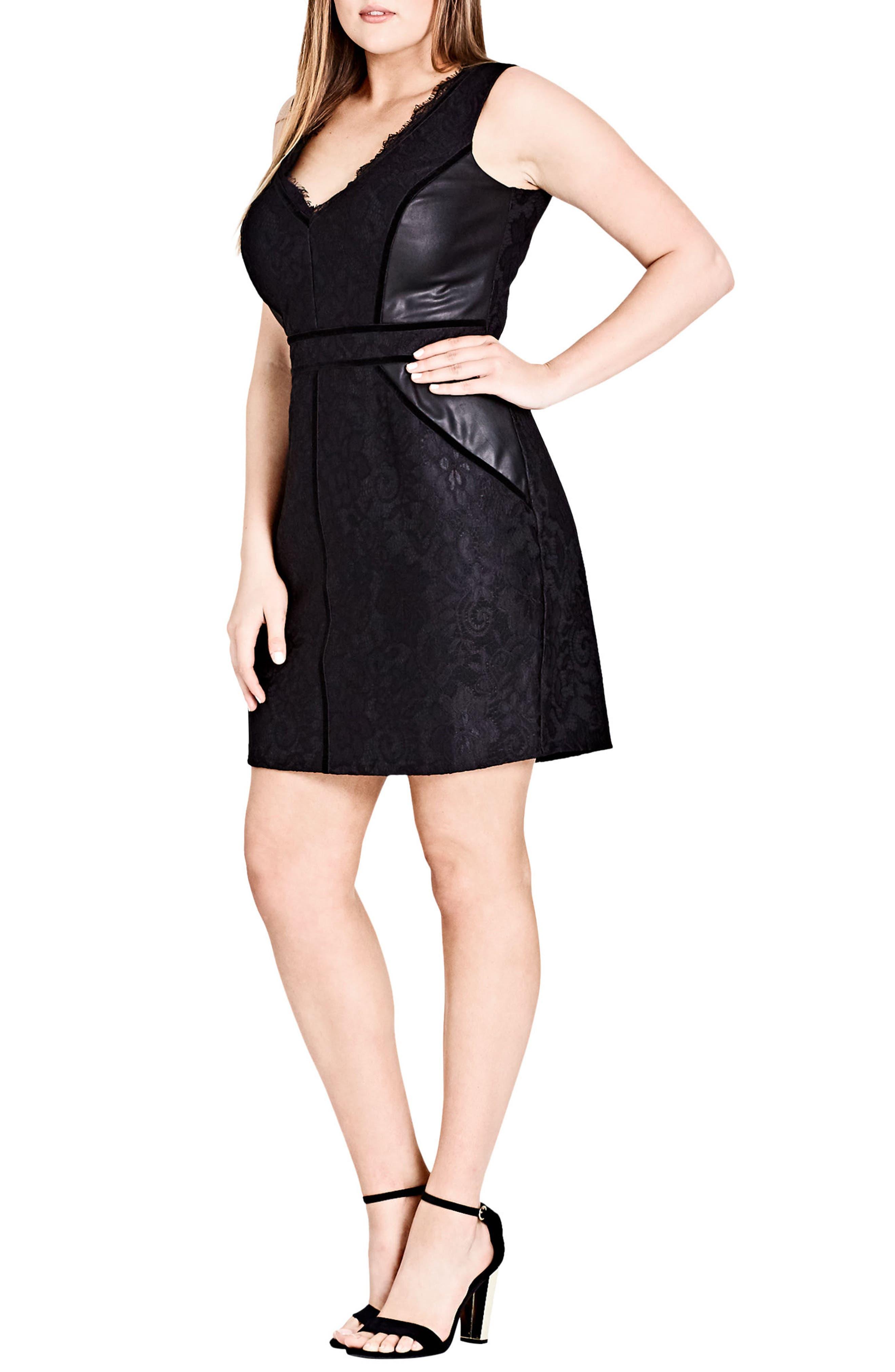 Luscious Lace & Faux Leather Dress,                             Main thumbnail 1, color,                             Black