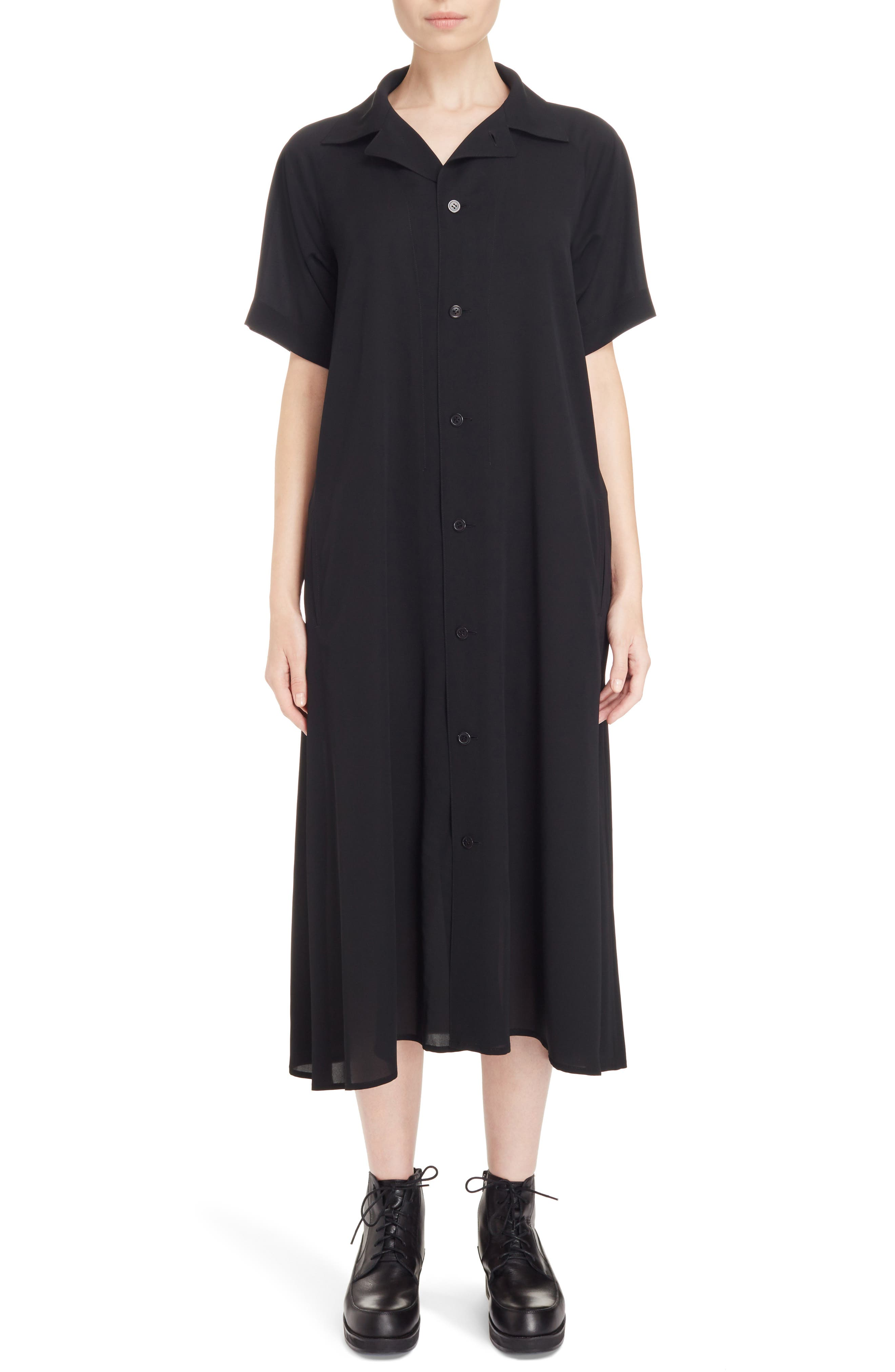 Oversize Shirtdress,                             Main thumbnail 1, color,                             Black